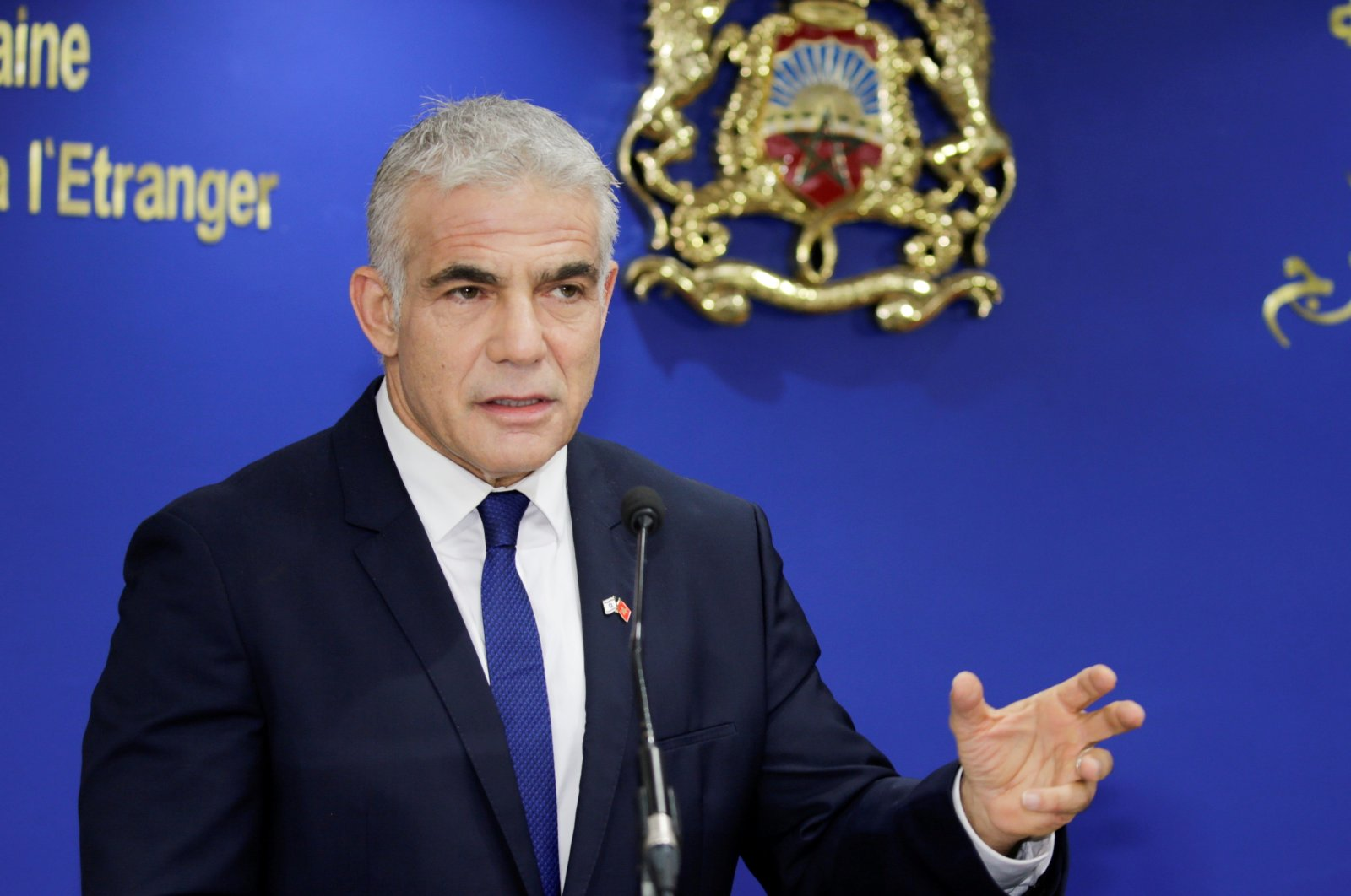 Israeli Foreign Minister Yair Lapid speaks during a news conference as he meets with Moroccan Foreign Minister Nasser Bourita in Rabat, Morocco, Aug. 11, 2021. (Reuters Photo)