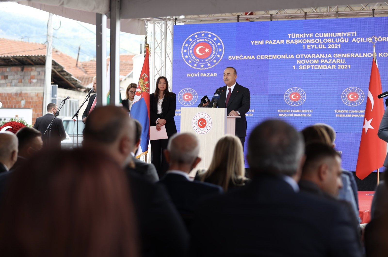 Foreign Minister Mevlüt Çavuşoğlu speaks at the opening of the Turkish Consulate General in Novi Pazar, Serbia, Sept. 1, 2021. (AA Photo)