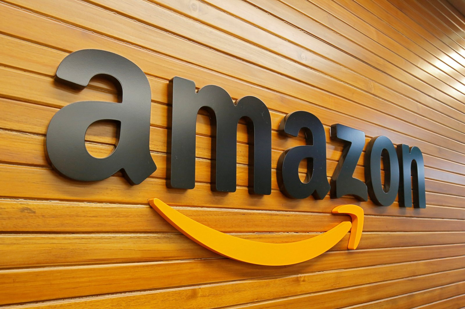 The logo of Amazon is pictured inside the company's office in Bengaluru, India, April 20, 2018. (Reuters File Photo)