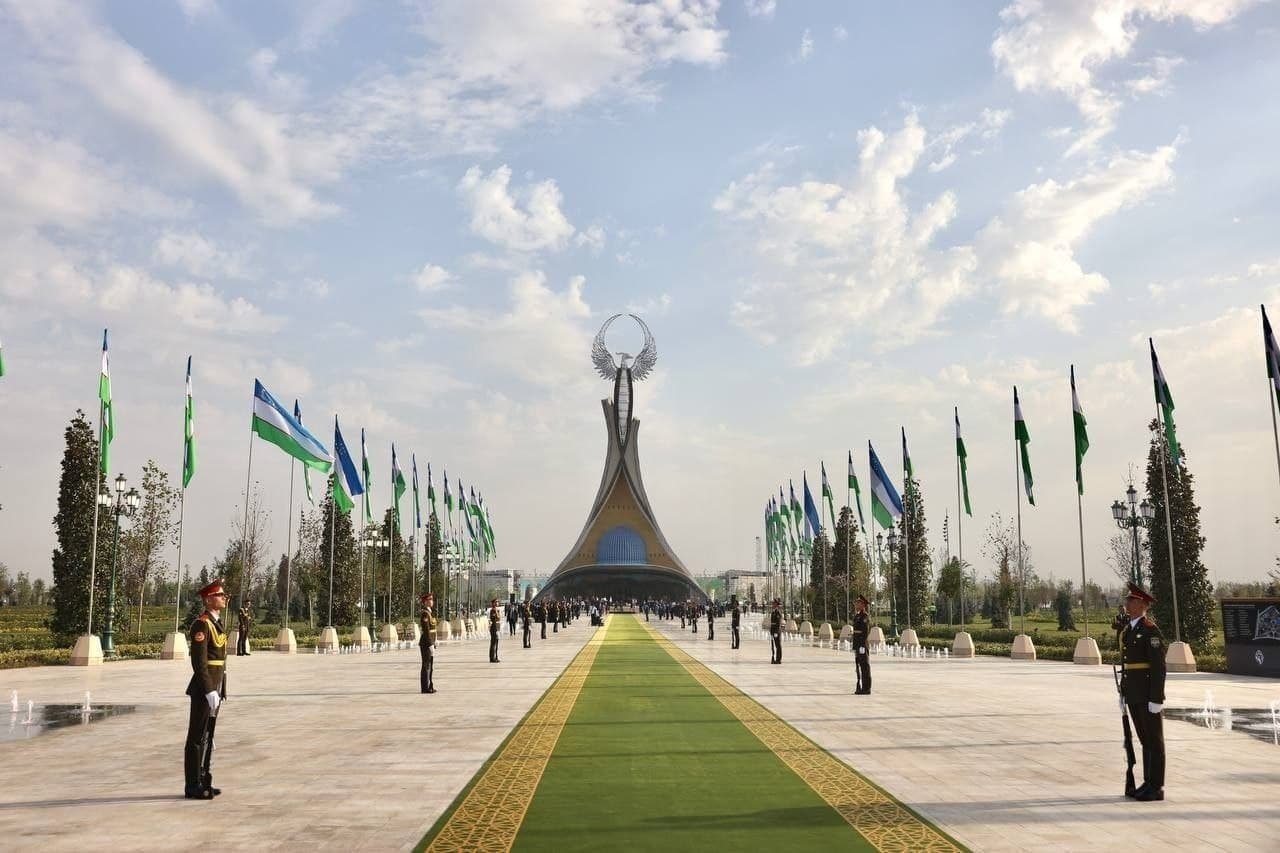 Uzbekistan celebrates the 30th anniversary of its independence in front of the monument built by a Turkish designer firm in Tashkent, Uzbekistan, Aug. 31, 2021.