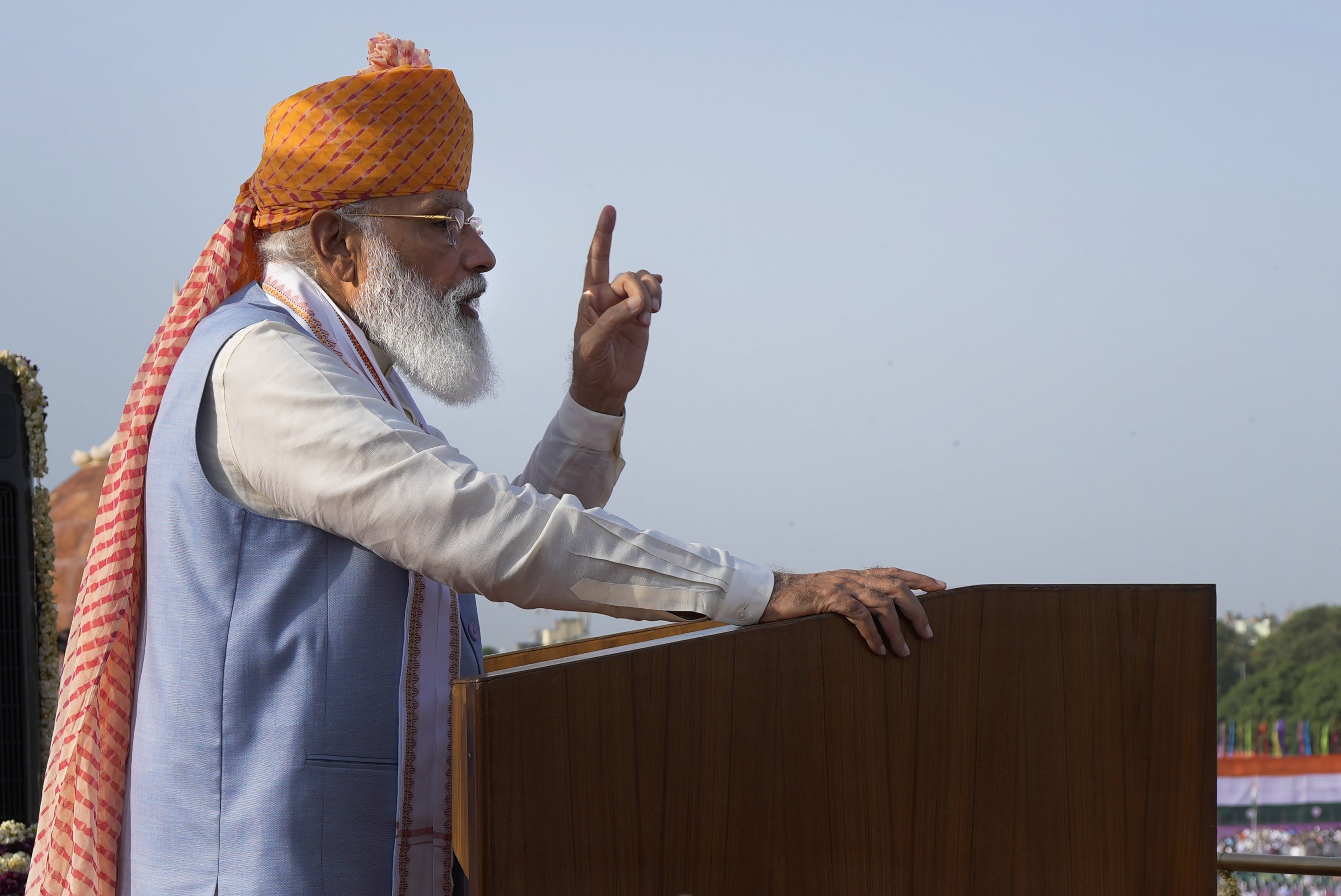 Indian Prime Minister Narendra Modi addresses the gathering during Independence Day celebrations at the historic 17th century Red Fort in New Delhi, India, on Sunday, Aug. 15, 2021. (AP Photo)