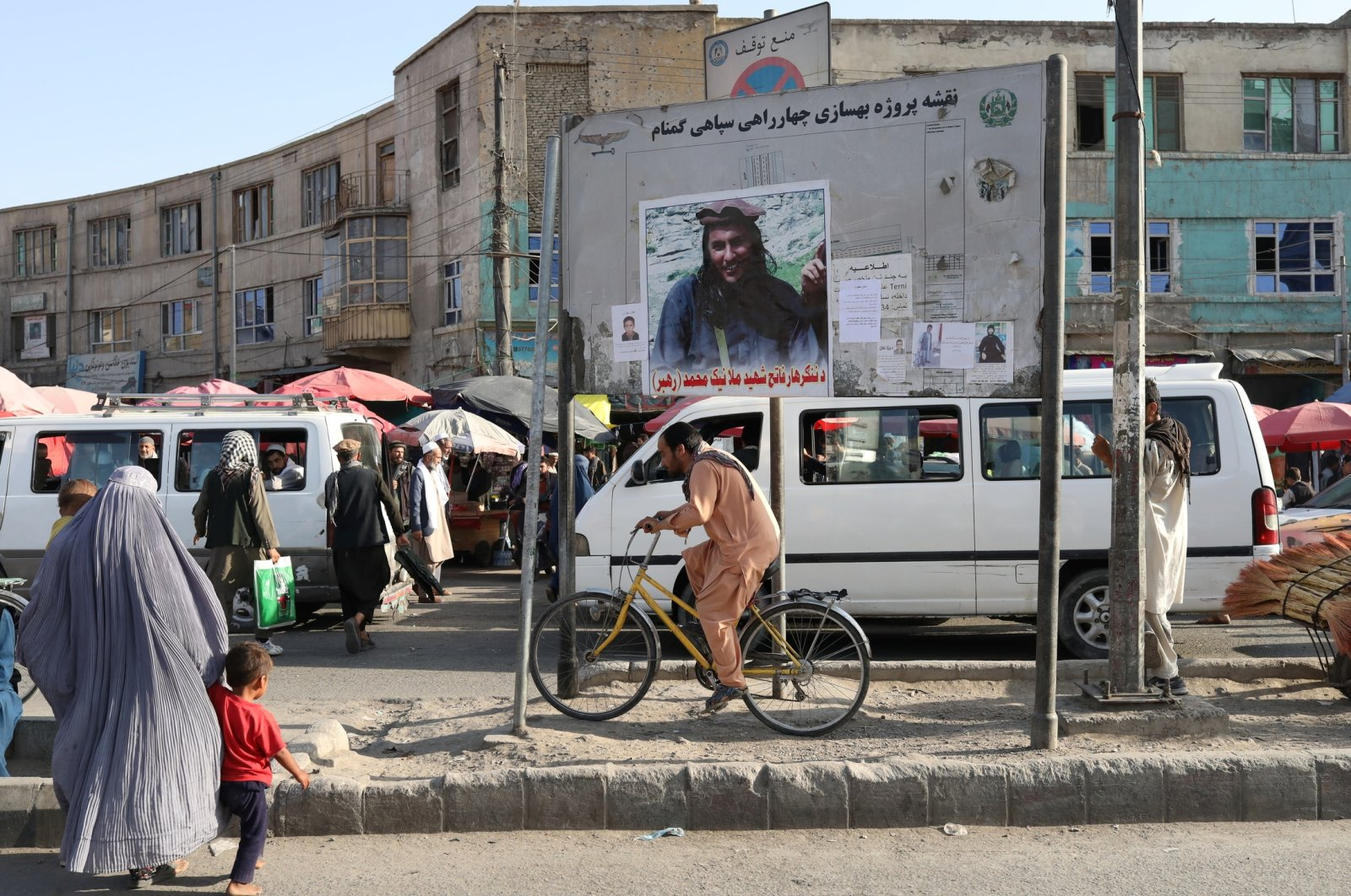 A photo of a martyred Taliban soldier is displayed on a billboard in Kabul, Afghanistan, Sept. 1, 2021. (West Asia News Agency via Reuters)