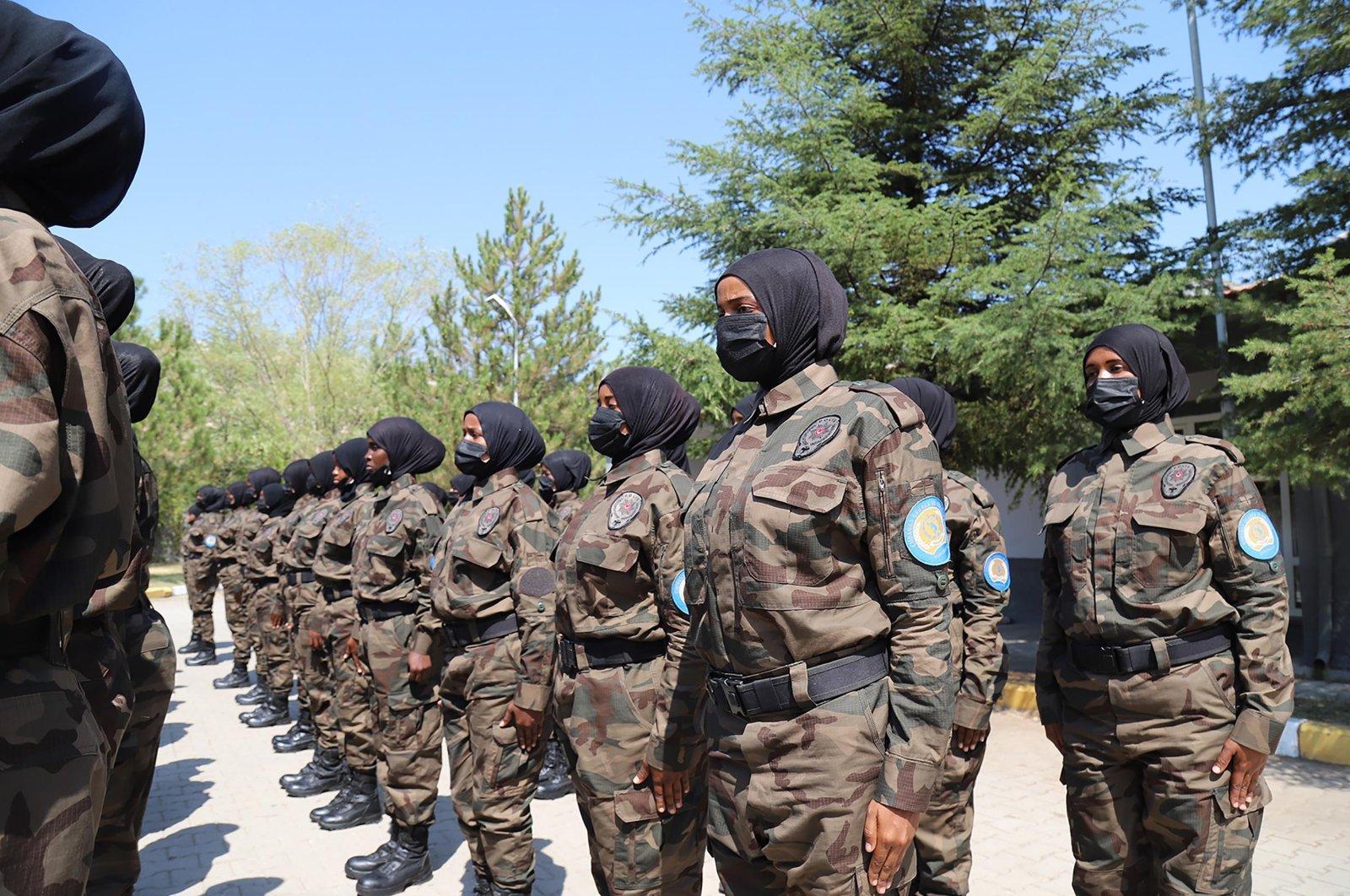 Somali female police commandos receive training in the capital Ankara, Turkey, Aug. 29, 2021. (DHA Photo)