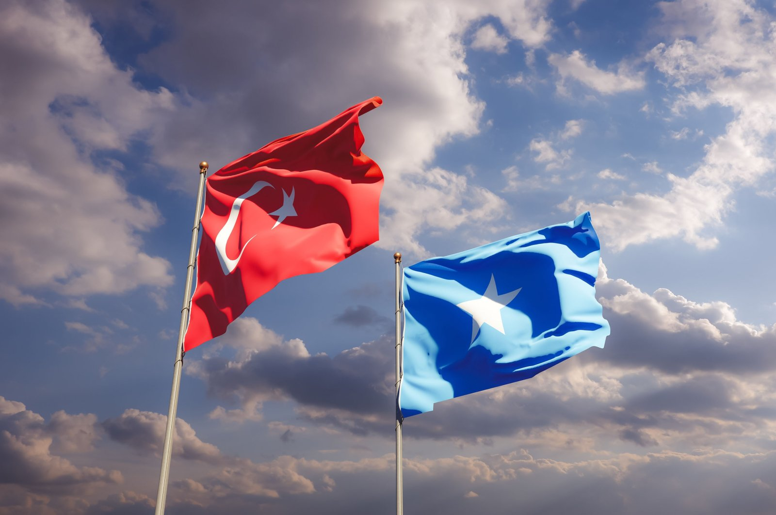 The flags of Turkey and Somalia. (Shutterstock Photo)