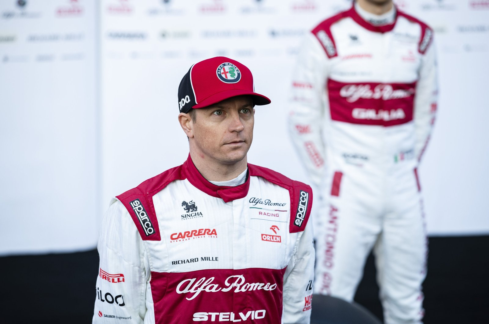 Alfa Romeo's Finnish driver Kimi Raikkonen poses for a photo in Barcelona, Spain, Feb. 19, 2020. (Getty Images)