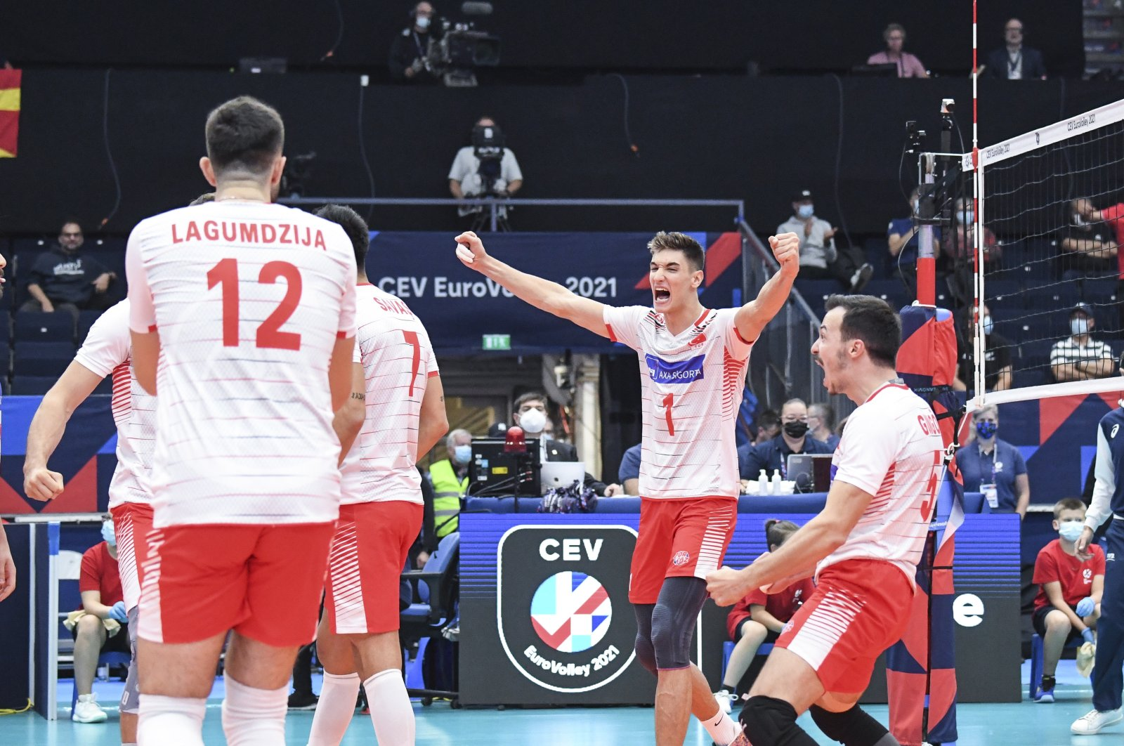 Turkish players react during the 2021 European Volleyball Championship match against Russia, in Tampere, Finland, Sept. 2, 2021. (EPA Photo)