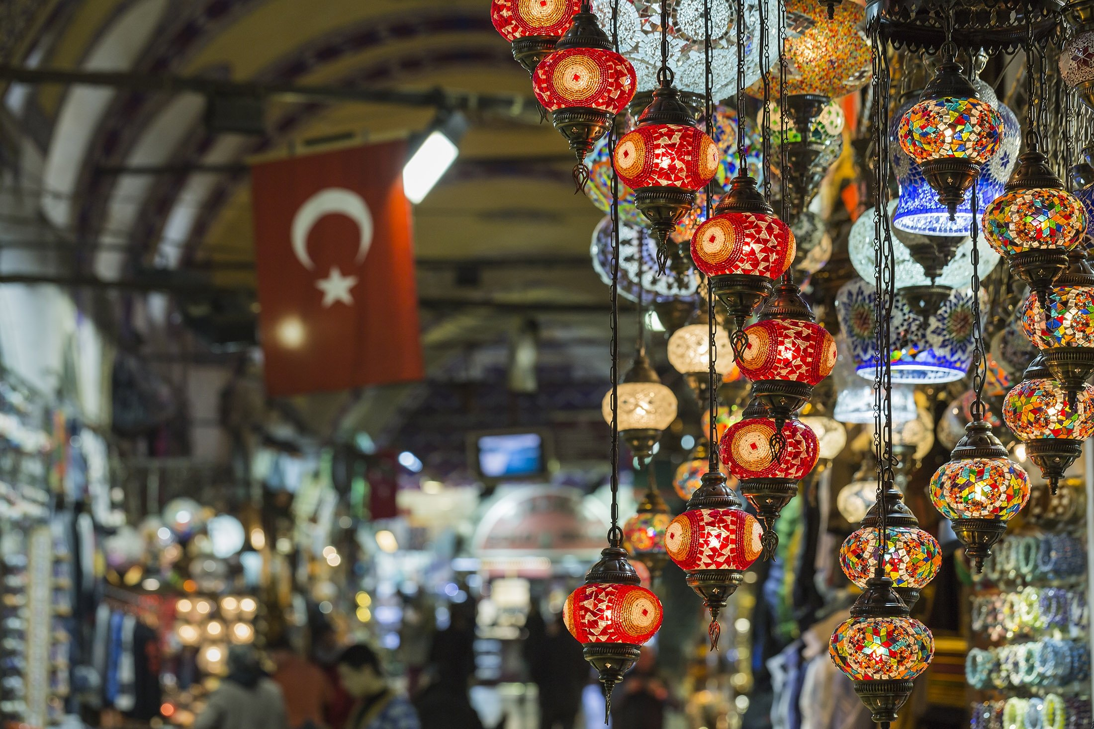 Glass lamps for sale in the Grand Bazaar in Istanbul. (Shutterstock Photo)