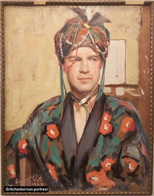 "Namık Ismail, ""Portrait ofAlexis Gritchenko,""oil on cardboard, private collection, Turkey."