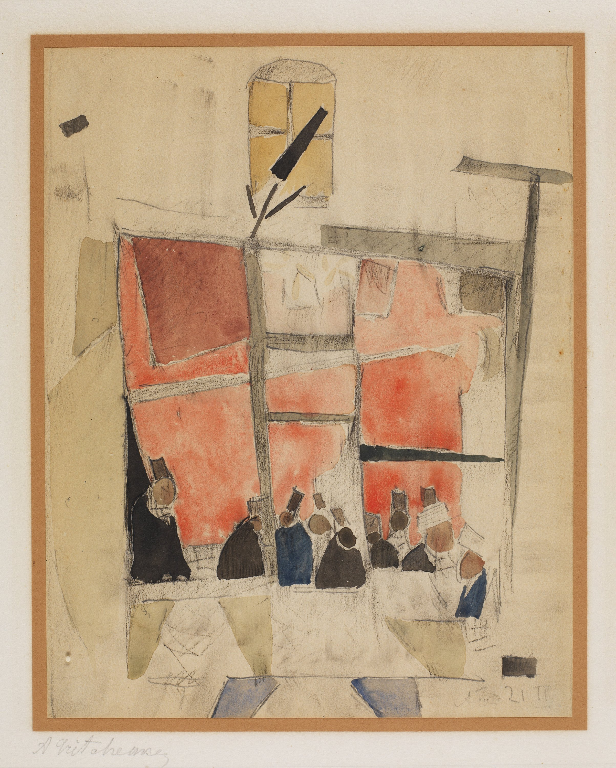 """Alexis Gritchenko, """"In the Coffeehouse,"""" February 1921, watercolor and pencil on paper, Ömer Koç collection, Turkey."""