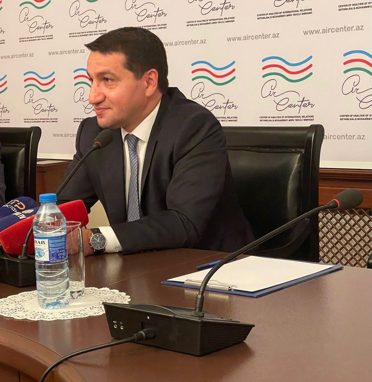 Azerbaijan'sPresidential aide Hikmet Hajiyev addresses reporters in Baku, Azerbaijan, Sept. 3, 2021. (Photo by Kenan Kıran)