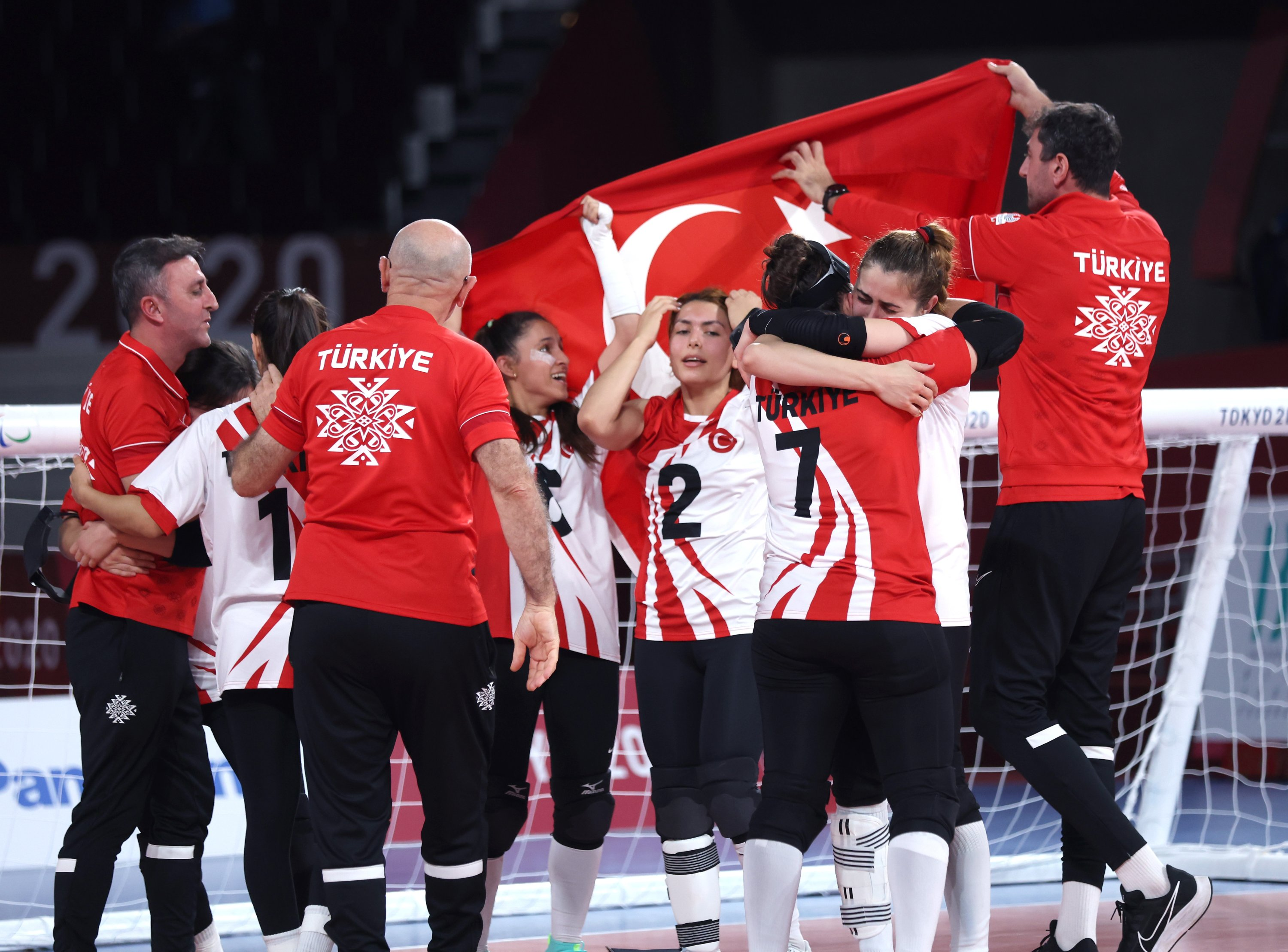 Team Turkey celebrates after defeating Team USA in the women's in the Tokyo Paralympic goalball final at Makuhari Messe Hall, in Chiba, Japan, Sept. 3, 2021. (Getty Images)