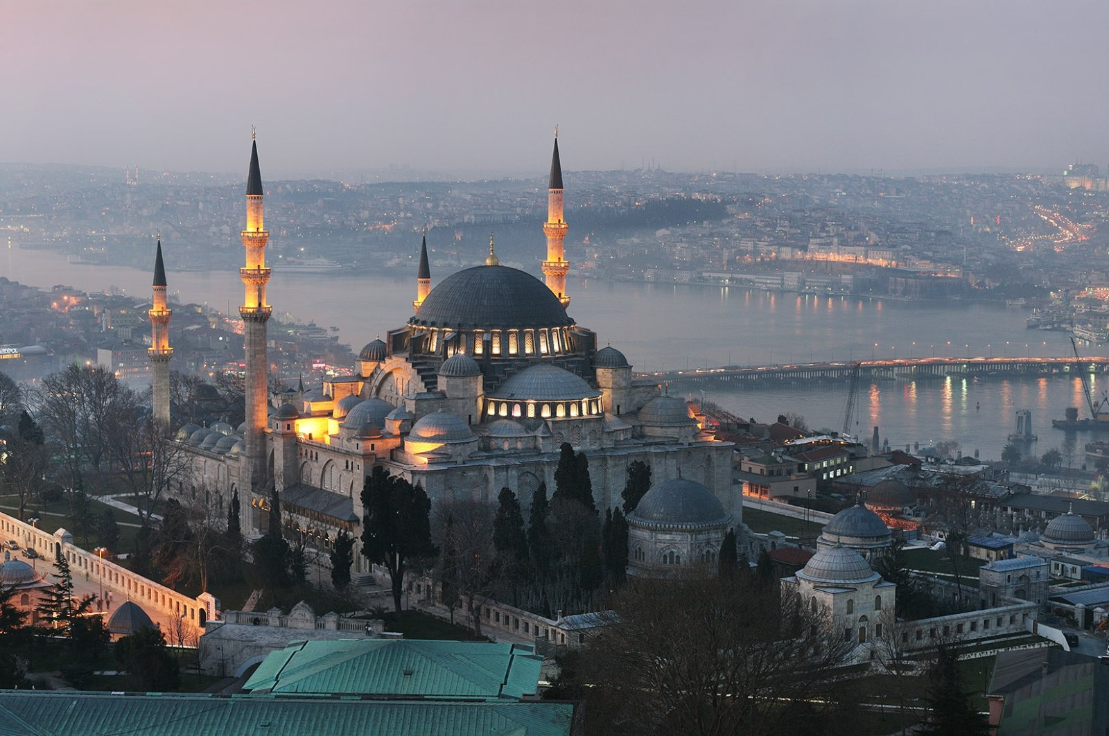 A view of Istanbul at night, the Golden Horn in the distance. (Shutterstock Photo)