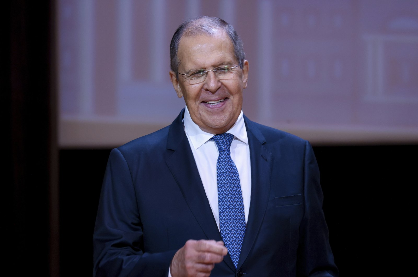 """Russian Foreign Minister Sergey Lavrov speaks at the prestigious Moscow State Institute of International Relations during the traditional opening of the school year known as """"Day of Knowledge"""" in Moscow, Russia, Sept. 1, 2021. (Russian Foreign Ministry Press Service via AP)"""