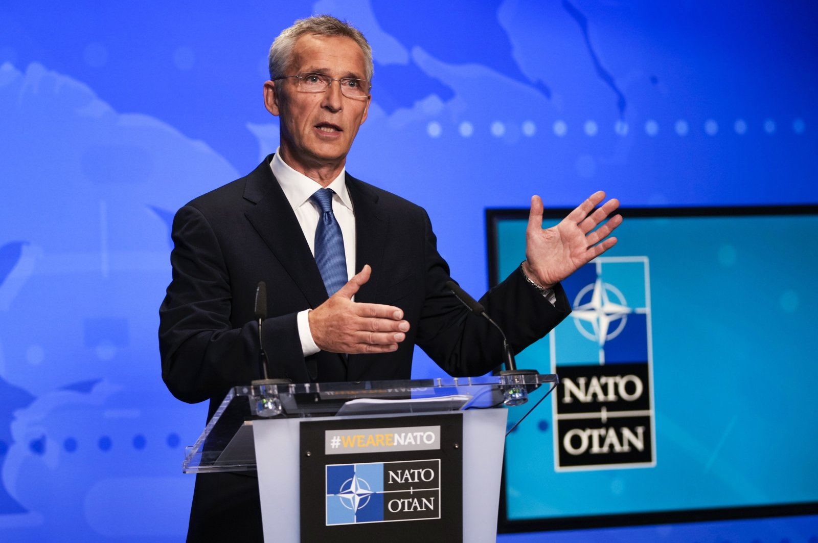 NATO Secretary-General Jens Stoltenberg gestures during an online news conference following a NATO Foreign Ministers video meeting following developments in Afghanistan at the NATO headquarters in Brussels, Belgium, 20 August 2021.  EPA/FRANCISCO SECO / POOL