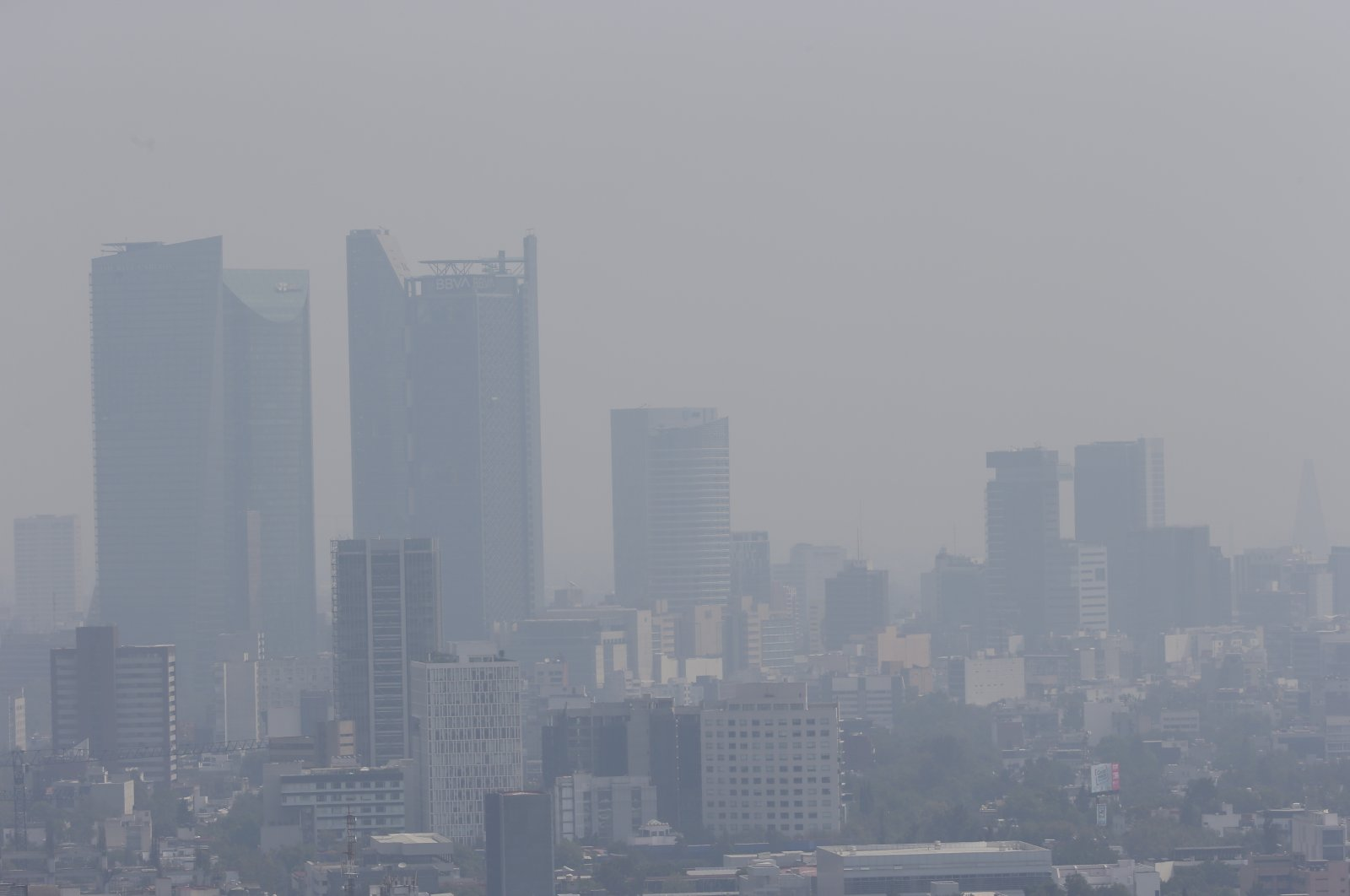 Smog hangs over Mexico City,  April 25, 2021. (AP Photo)