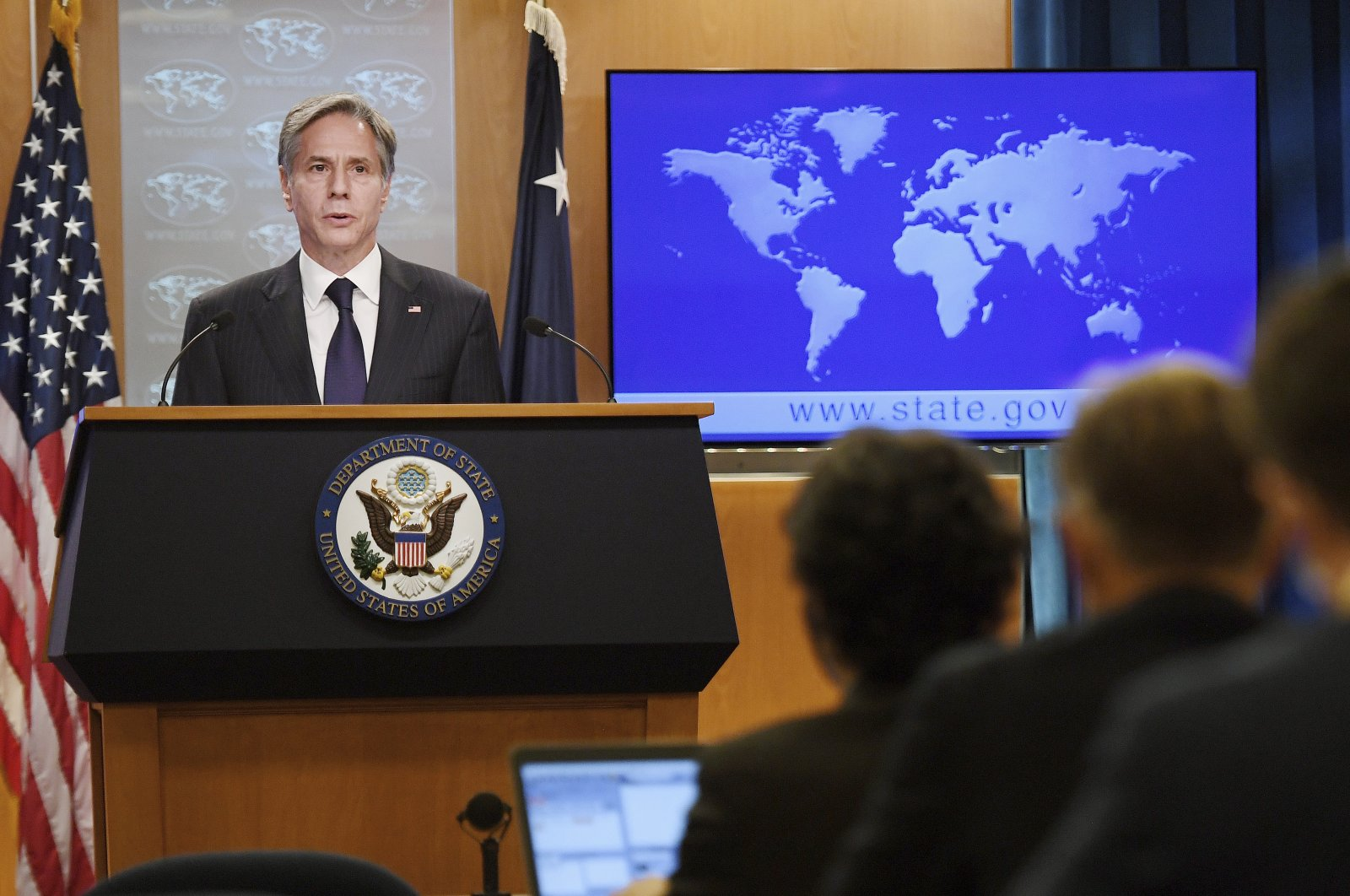 U.S. Secretary of State Antony Blinken speaks about Afghanistan during a media briefing at the State Department in Washington, D.C., Sept. 3, 2021. (AP Photo)