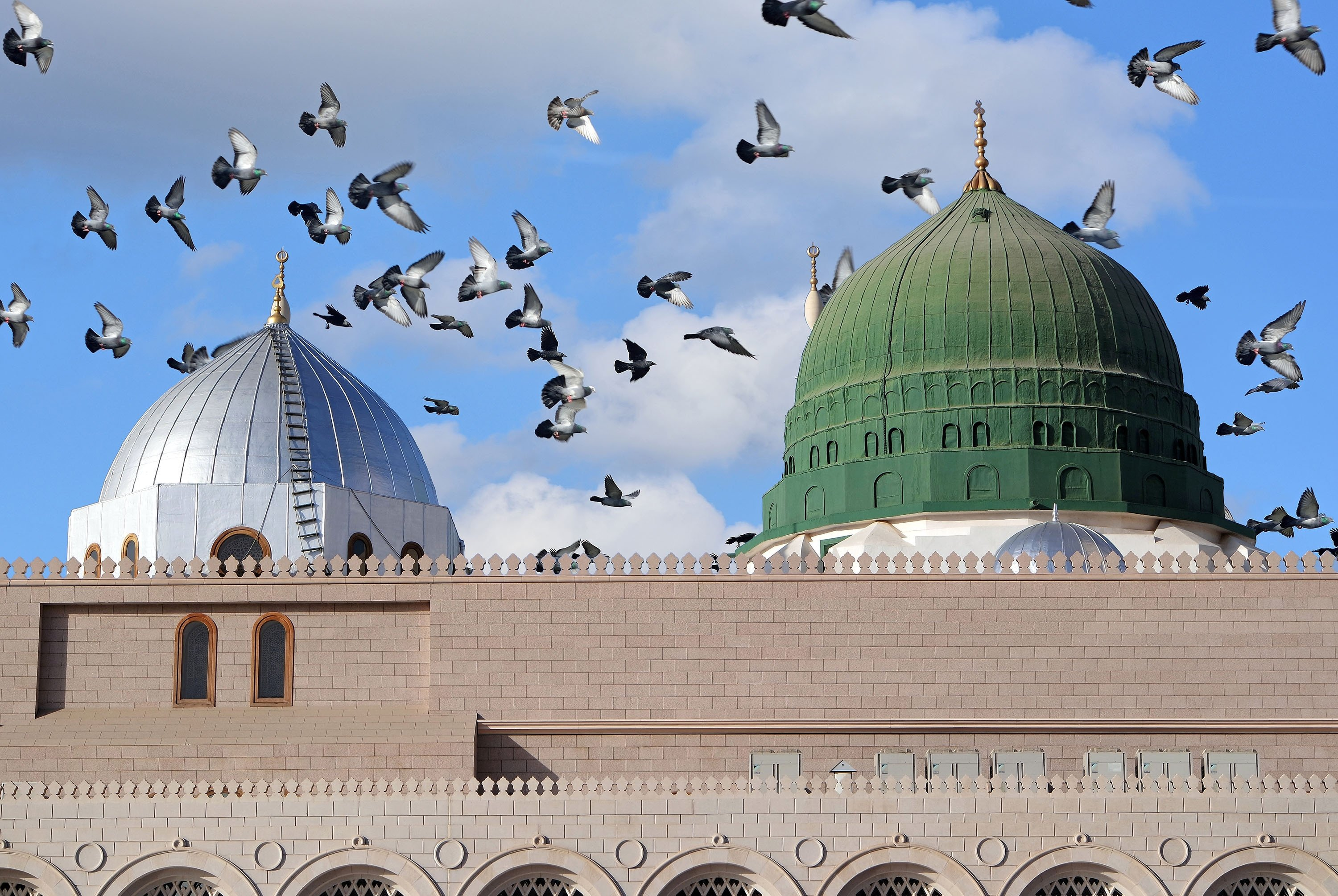 Pigeons fly over the Green Dome, a green-colored dome built above the tomb of the Prophet Muhammad,Medina, Saudi Arabia. (Shutterstock Photo)