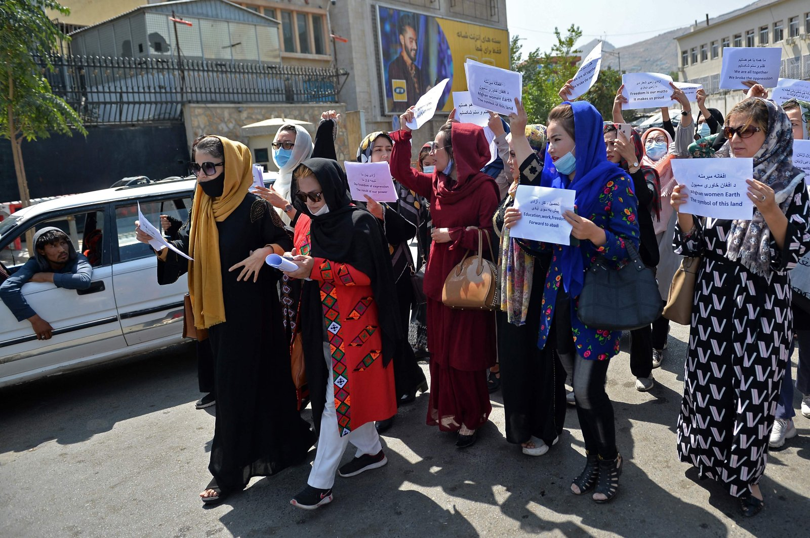 Afghan women take part in a protest march for their rights under the Taliban rule in the downtown area of Kabul, Afghanistan, Sept. 3, 2021. (AFP Photo)