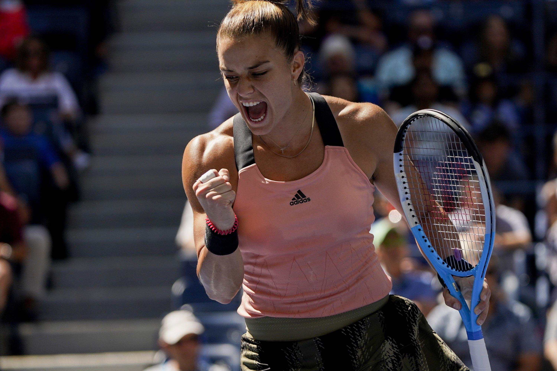 Greece's Maria Sakkari after scoring a point against the Czech Republic's Petra Kvitova in their U.S. Open third-round match, New York, U.S., Sept. 4, 2021. (AP Photo)