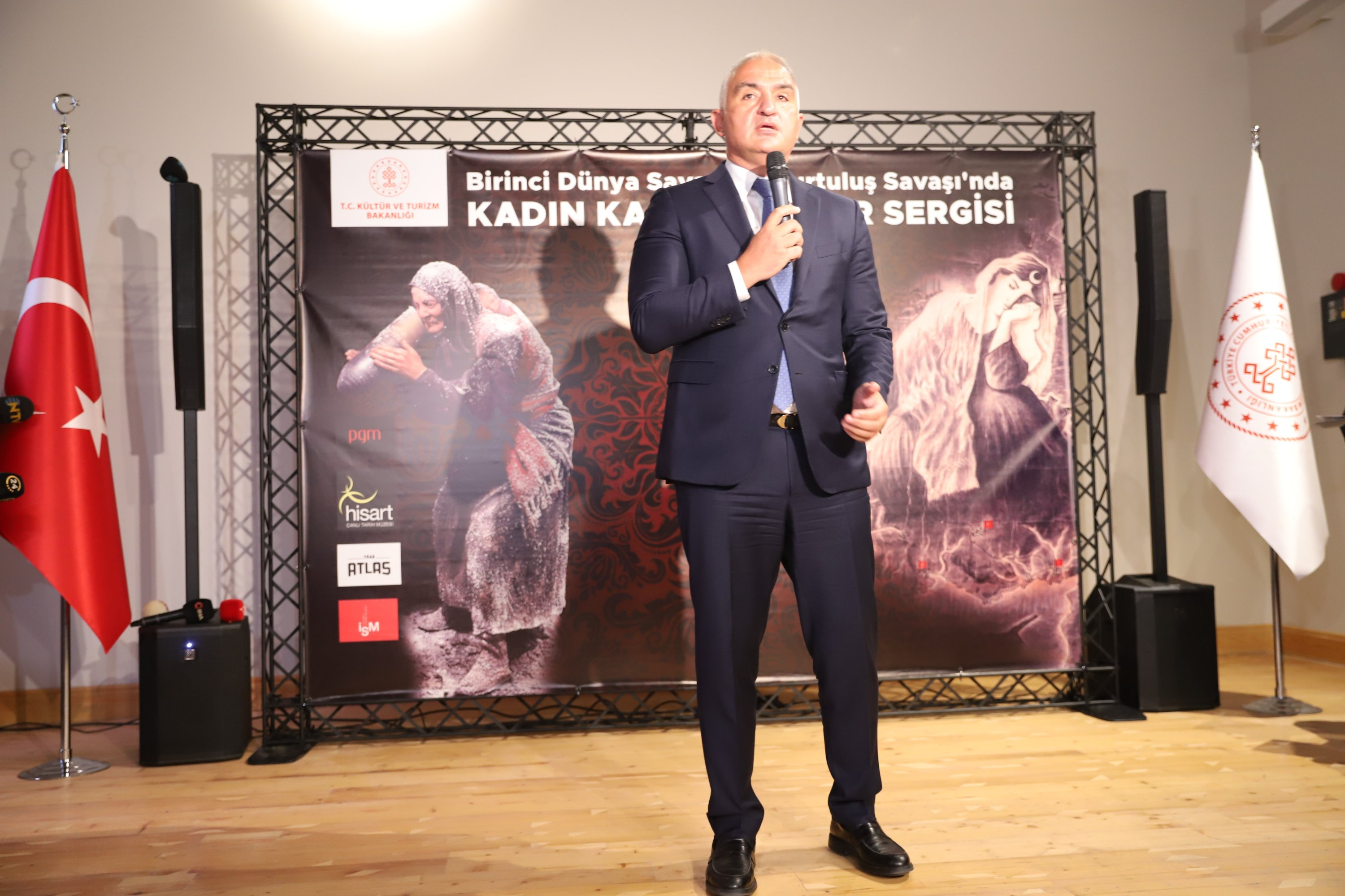 Minister of Culture and Tourism Mehmet Nuri Ersoy speaks at the opening ceremony in the Istanbul Cinema Museum, Sept. 3, 2021. (Photo by Meltem Sarsılmaz)