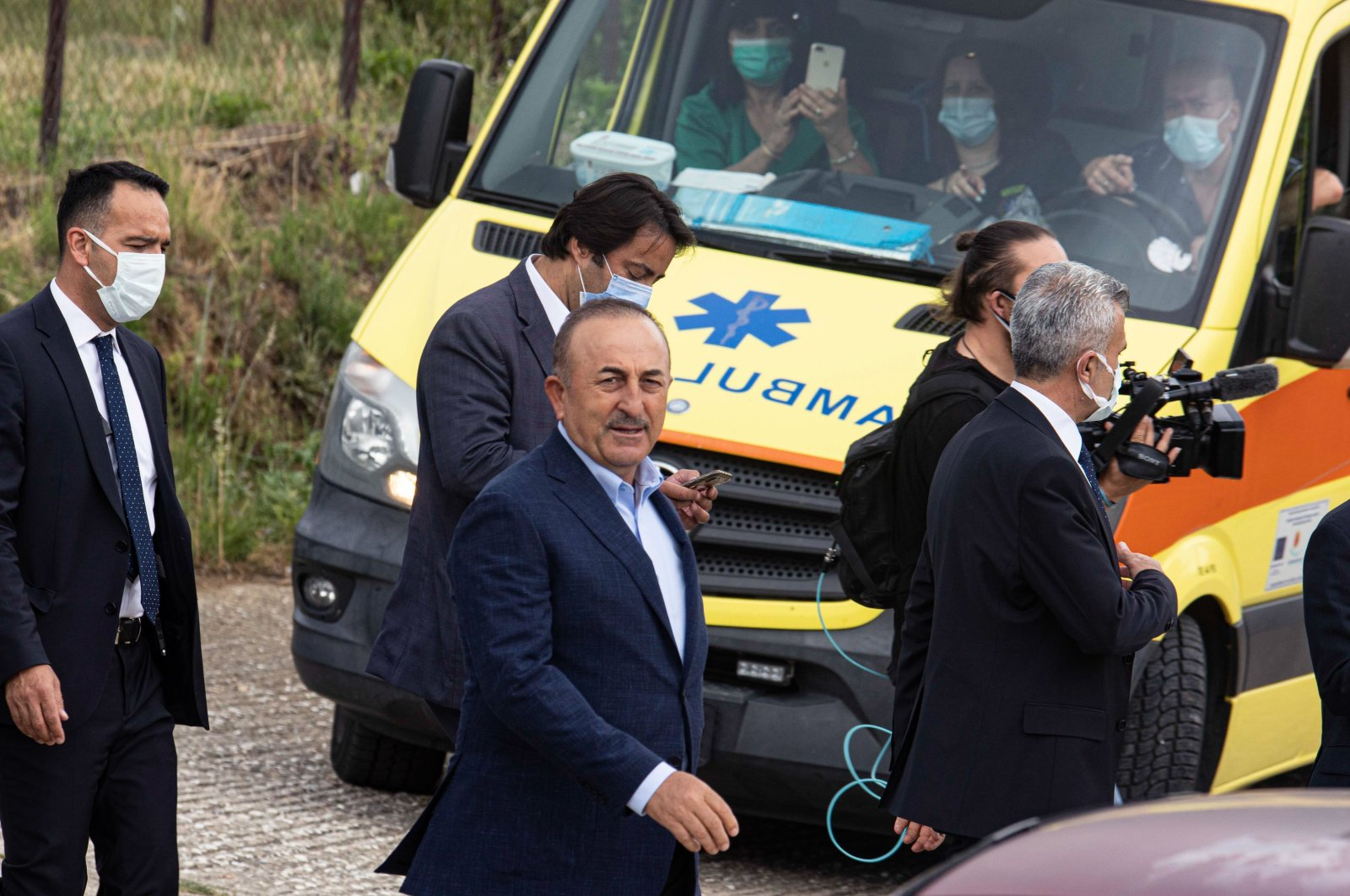 Foreign Minister Mevlüt Çavuşoğlu in Komotini (Gümülcine) as a private visit during his official visit in Greece, May 30, 2021. (Getty Images)
