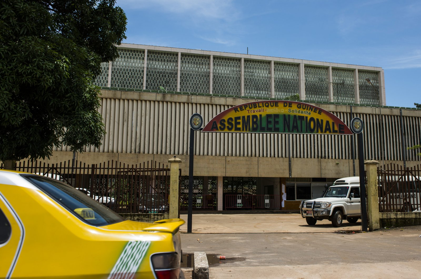 The Guinea national assembly, also known as the parliament, stands in Conakry, Guinea, Sept. 5, 2015. (Getty Images)