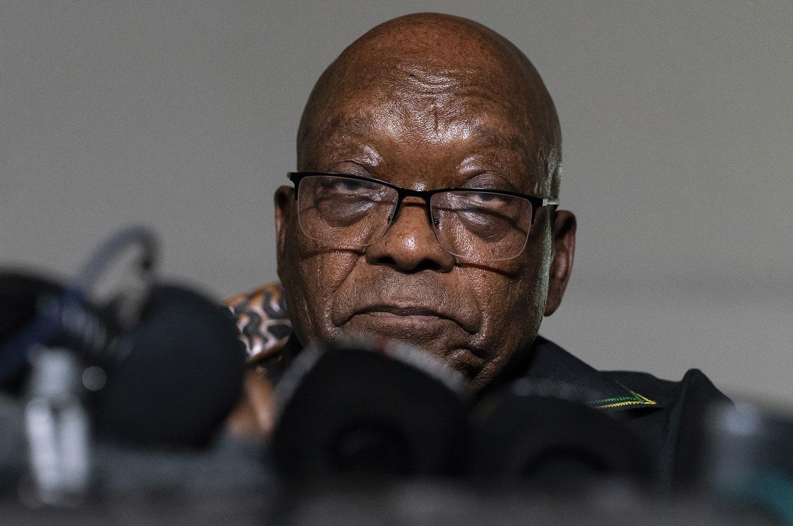 Former president Jacob Zuma addresses the press at his home in Nkandla, KwaZulu-Natal Province, South Africa, July 4, 2021. (AP File Photo)