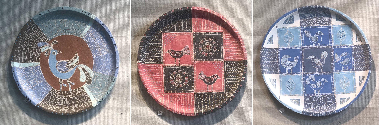 "Ceramic plates with depictions of birds as part of Defne Küçük's ""Bird Frequency"" exhibition on display at Schneidertempel, in Istanbul, Turkey. (Photos by Matt Hanson)"