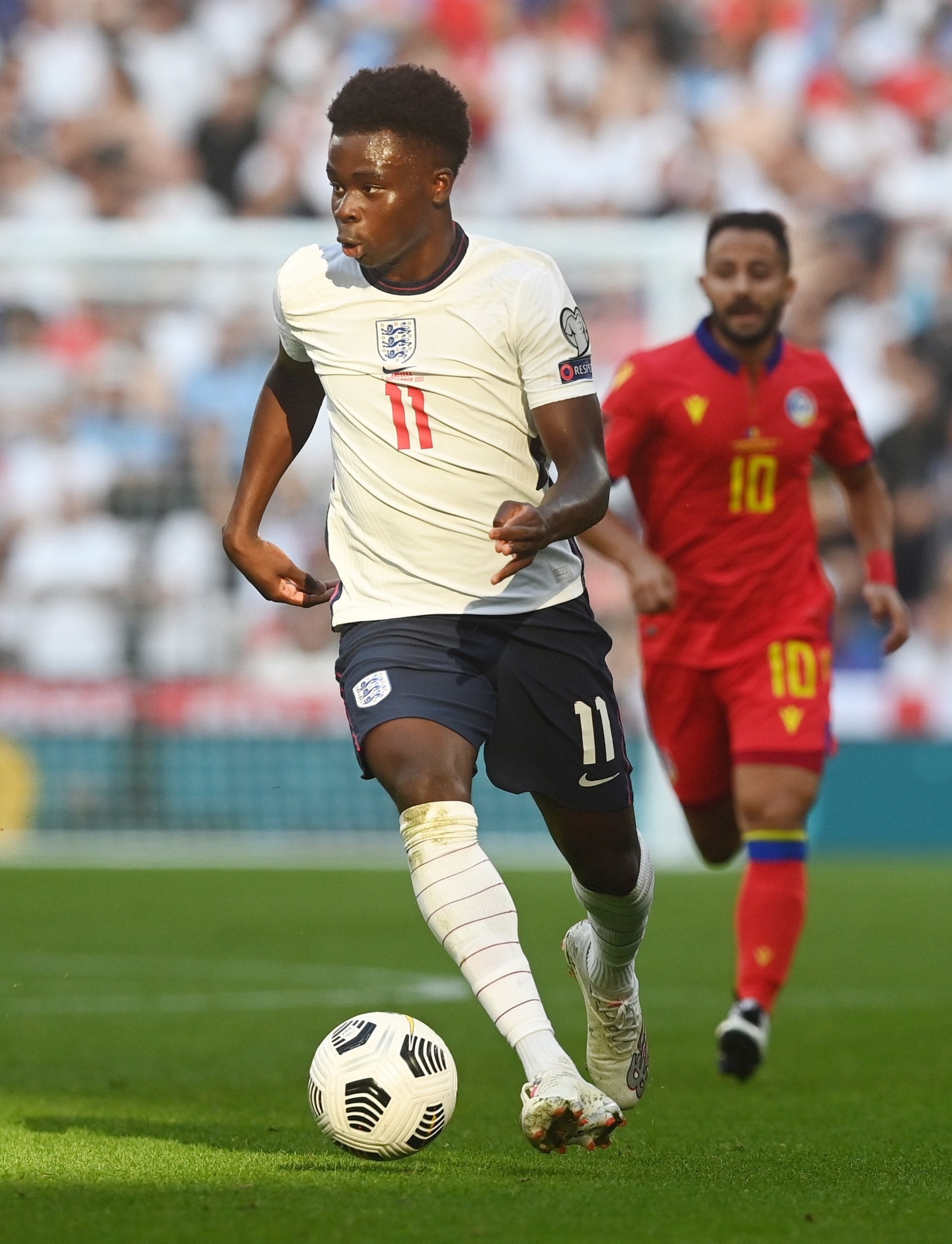 England's Bukayo Saka in action during a FIFA World Cup 2022 qualifier against Andorra in London, England, Sept. 5, 2021. (EPA Photo)