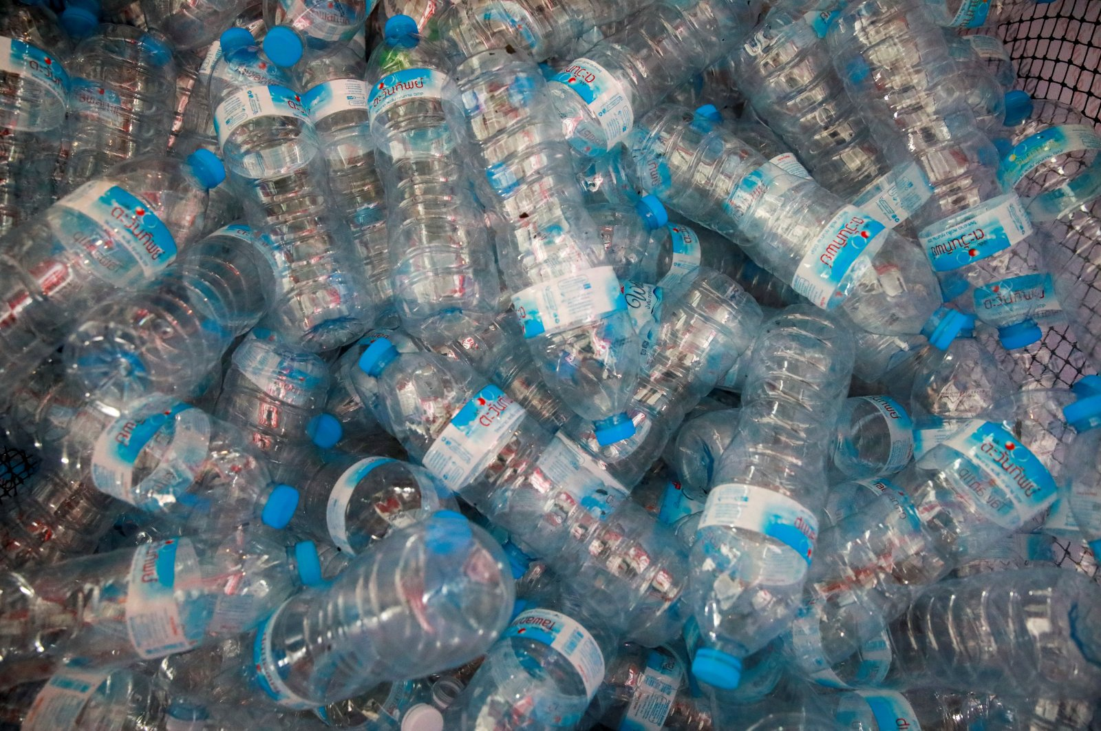 Plastic bottles are seen at a collecting point in Bangkok, Thailand, Aug. 30, 2021. (Reuters Photo)