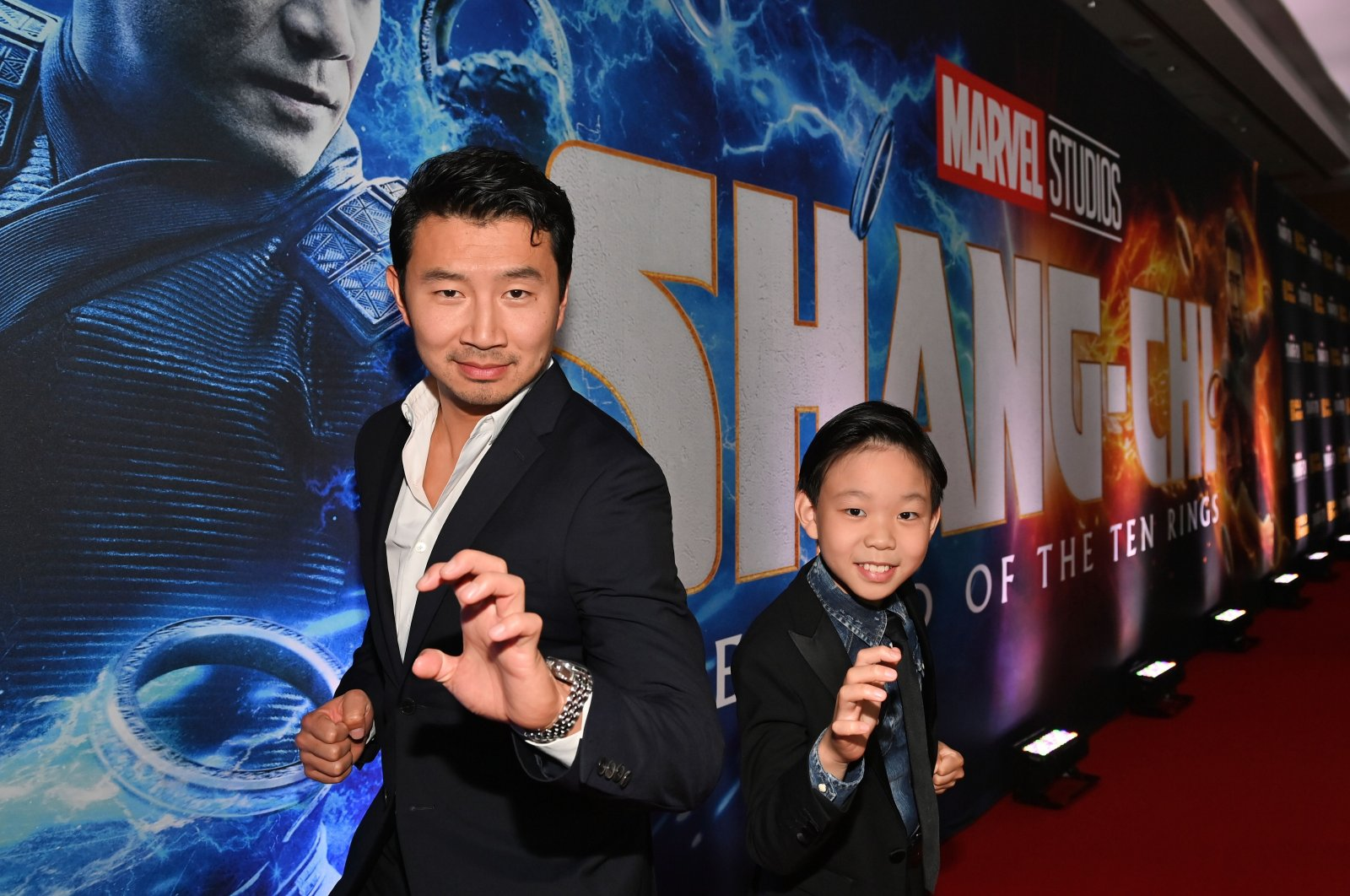 """Actors Simu Liu (L) and Jayden Zhang attend the Toronto Premiere of """"Shang-Chi and the Legend of the Ten Rings"""" at Shangri-La Hotel in Toronto, Ontario, Canada, Sept. 1, 2021. (Getty Images)"""