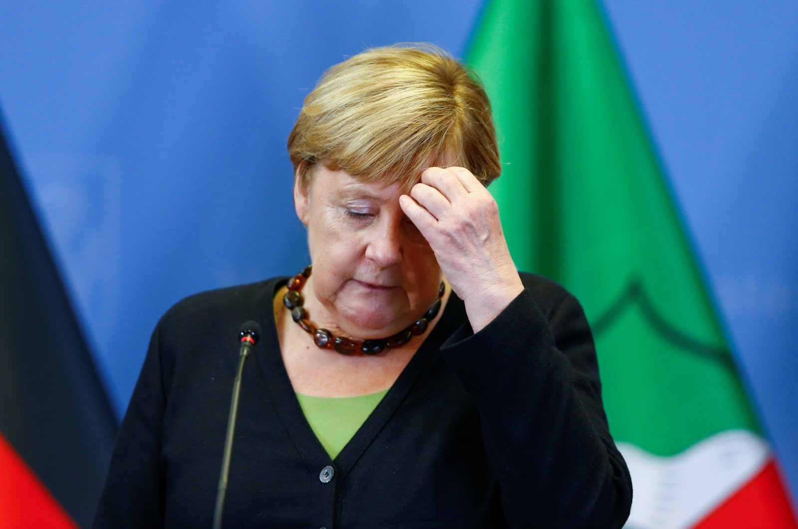 German Chancellor Angela Merkel attends a news conference with North Rhine-Westphalia's State Premier, Christian Democratic Union (CDU) party leader and candidate for chancellor Armin Laschet, in Hagen, Germany, Sept. 5, 2021. (Reuters Photo)
