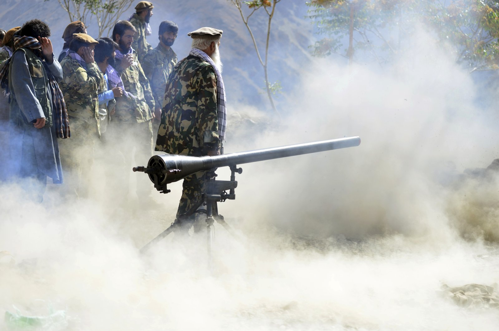 Militiamen loyal to Ahmad Massoud, son of the late Ahmad Shah Massoud, take part in a training exercise, in Panjshir province, northeastern Afghanistan, Monday, Aug. 30, 2021. (AP Photo)