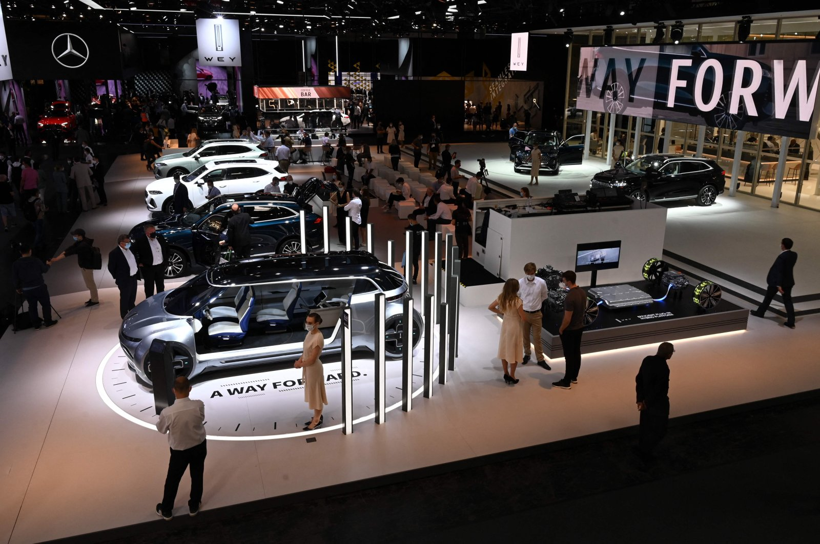 The booth of Chinese carmaker Great Wall Motors (GWM) is seen during a press preview at the International Motor Show (IAA), in Munich, Germany, Sept. 6, 2021. (AFP Photo)