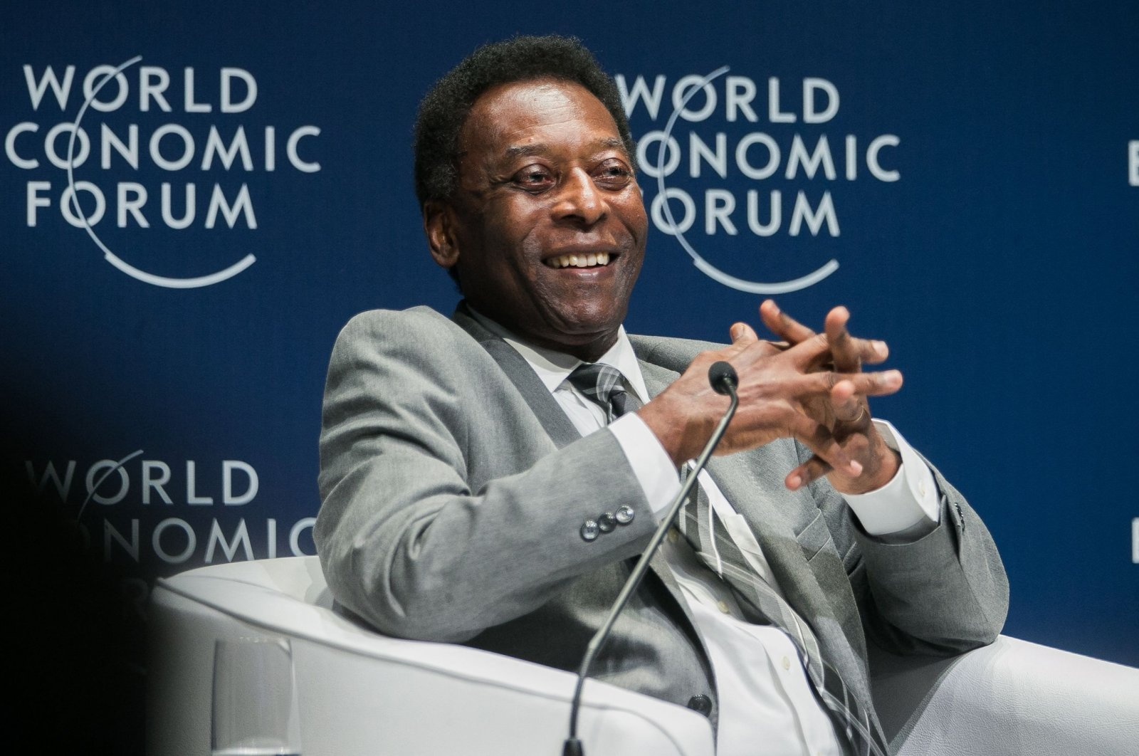 Brazilian football legend Pele smiles during the opening plenary at the World Economic Forum on Latin America 2018 in Sao Paulo, Brazil, March 14, 2018. (AFP File Photo)