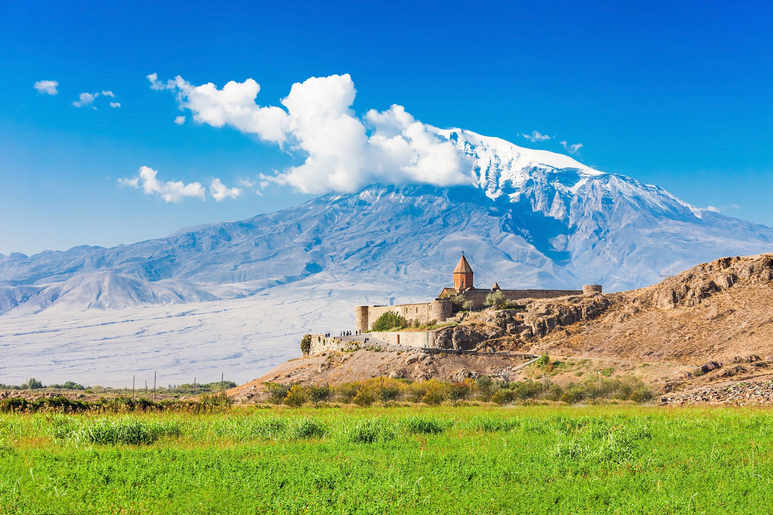 Armenian Monastery Khor Virap with Mount Ararat in the background, in the Ararat plain, Armenia. (Shutterstock Photo)