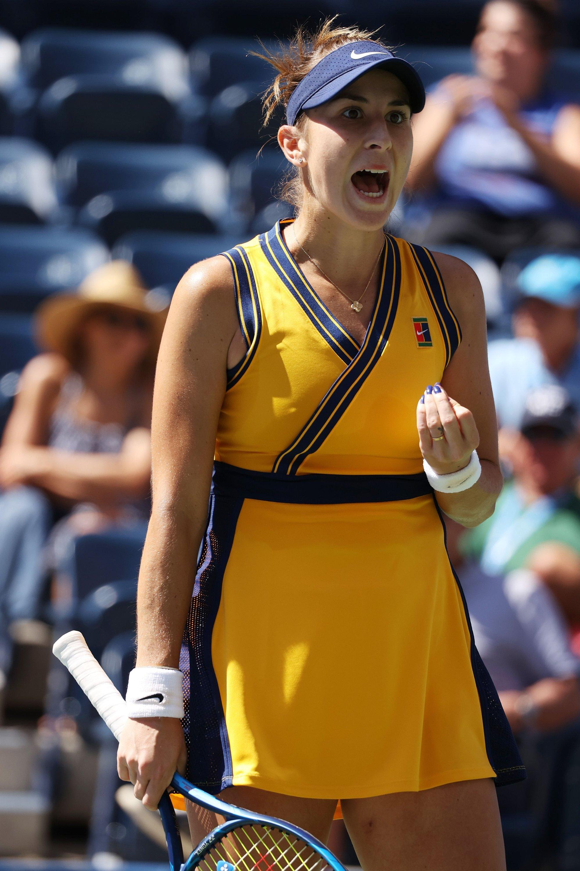 Switzerland's Belinda Bencic reacts after winning the first set against Poland's Iga Swiatek during their 2021 U.S. Open women's singles fourth-round match, New York, U.S., Sept. 6, 2021.