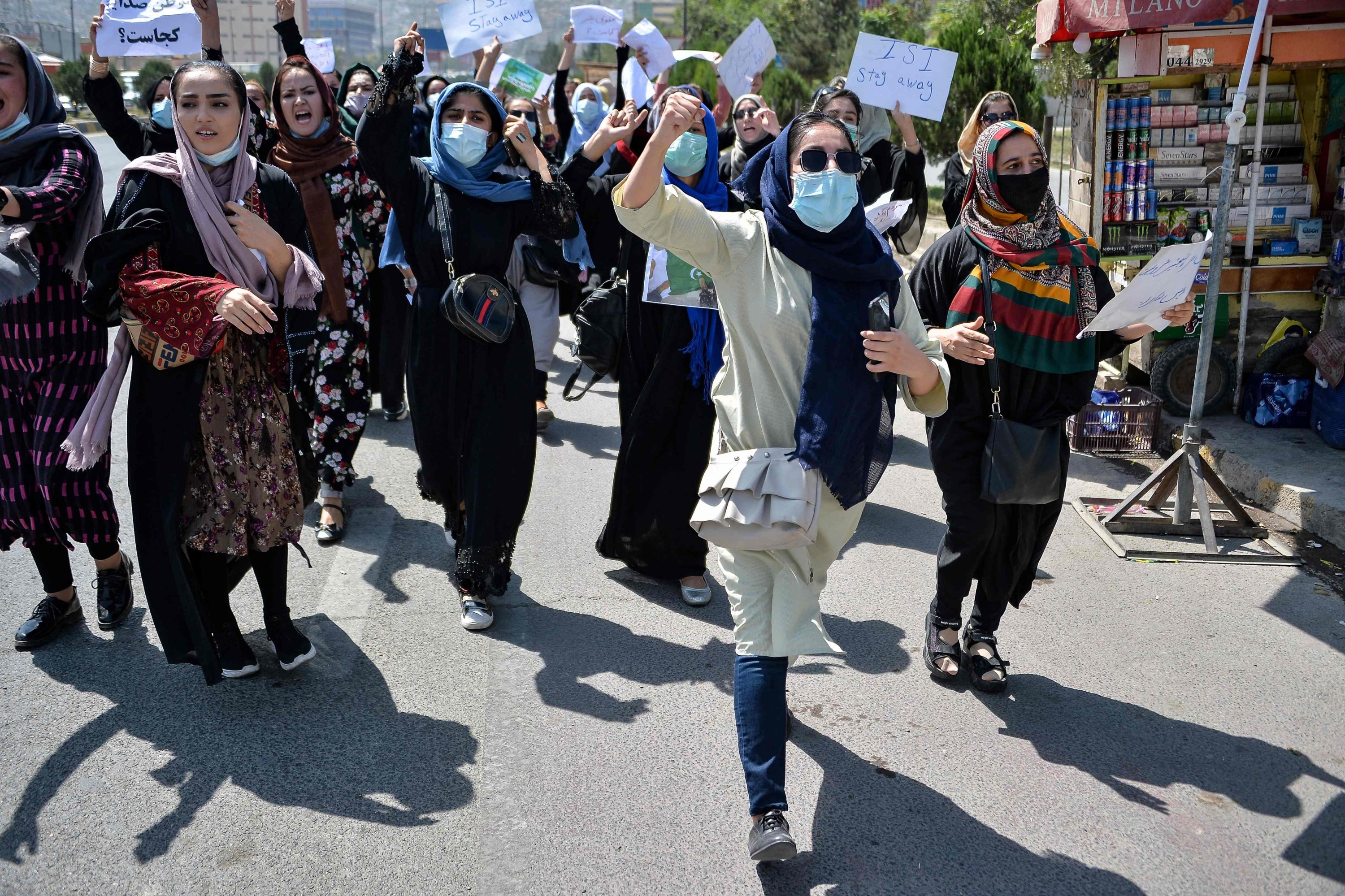 Afghan women shout slogans during an anti-Pakistan protest rally, near the Pakistan embassy in Kabul, Afghanistan, Sept. 7, 2021. (AFP Photo)