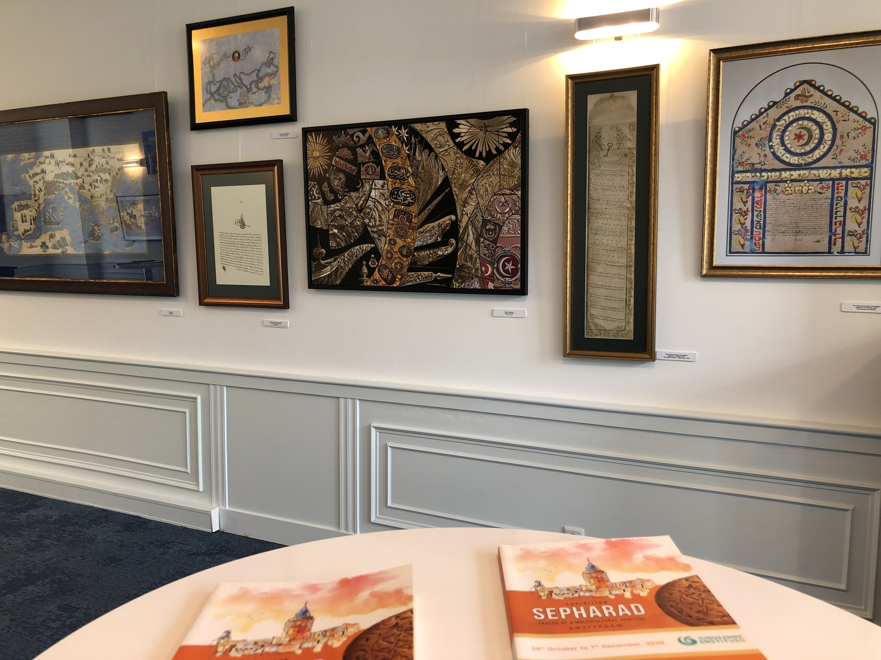 """A general view from """"Exhibition of Turkish Sephardic Artists"""" in Yunus Emre Institute Amsterdam, the Netherlands, Sept. 6, 2021. (AA Photo)"""