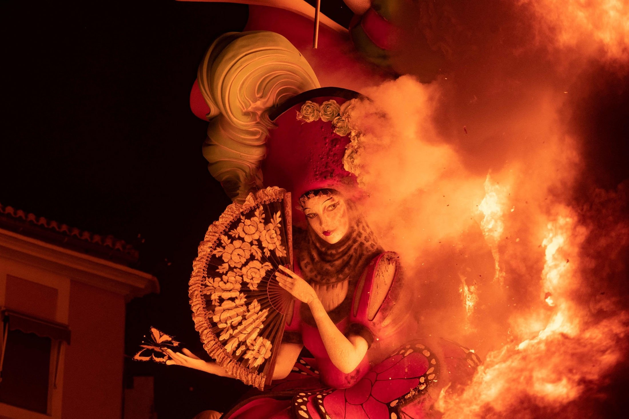 A ninot burns as an installation of the Fallas festival is set on fire during the last night of the festival in Valencia, Spain, Sept. 5, 2021. (AFP Photo)