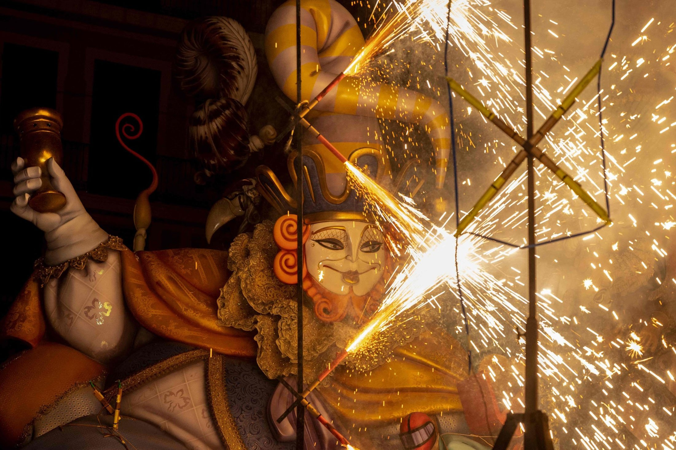 A Fallas installation is set on fire during the last night of the festival in Valencia, Spain, Sept. 5, 2021. (AFP Photo)