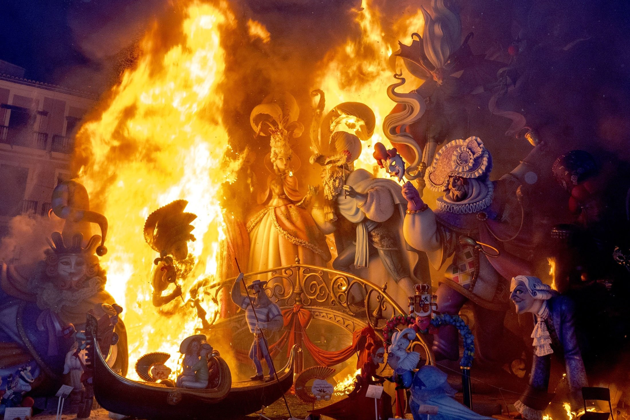 A falla burning during the traditional Fallas festival in Valencia, Spain, Sept. 5, 2021. (AFP Photo)