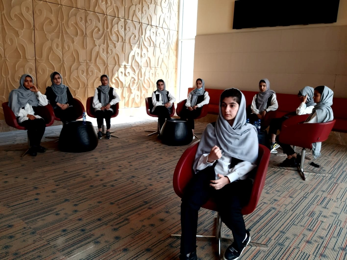 Ayda Haydarpour, a member of an Afghan all-girls robotics team who were evacuated last week from Afghanistan, talks during an interview with Reuters in Doha, Qatar, Aug. 25, 2021. (Reuters Photo)
