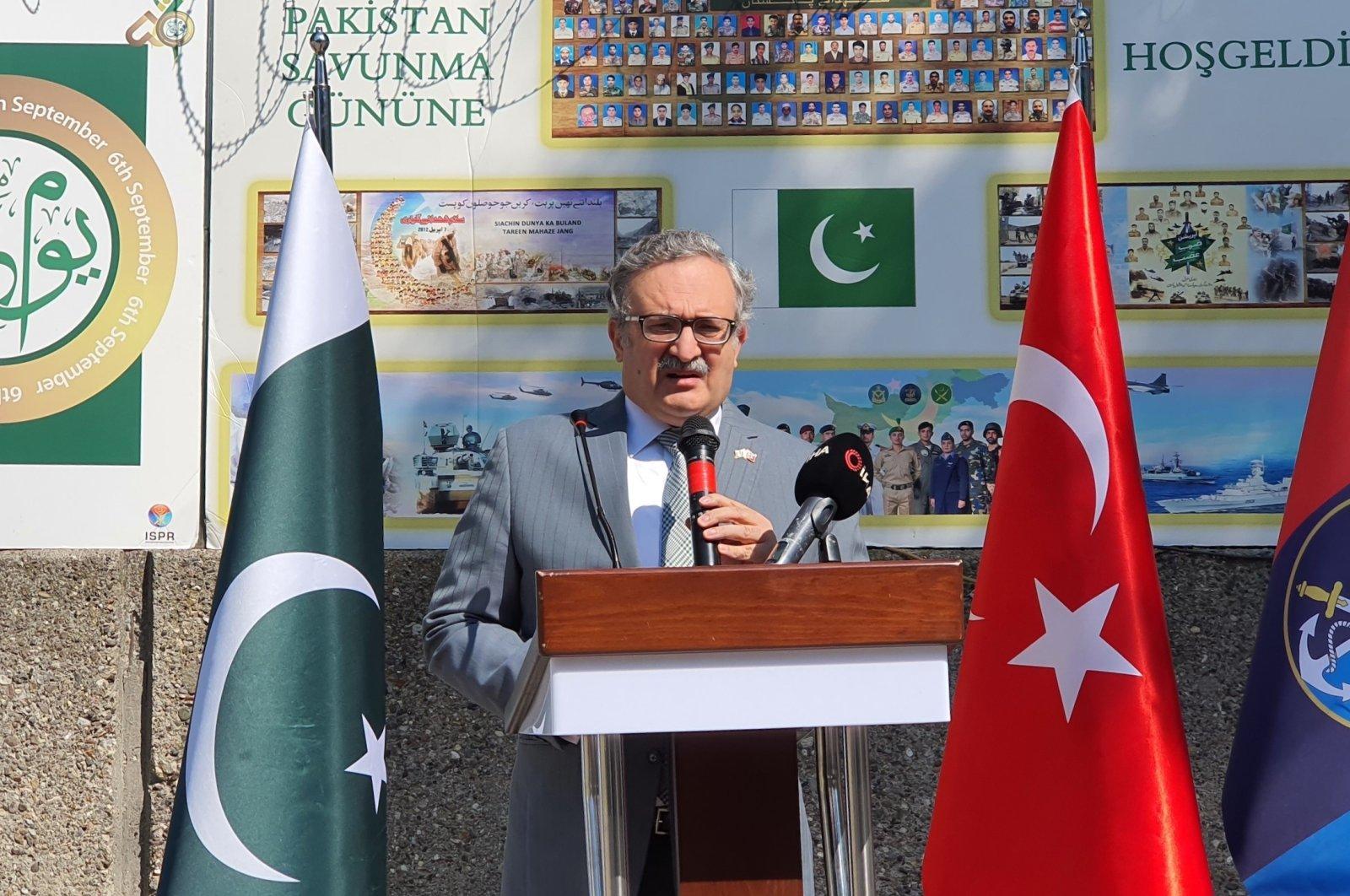 Pakistan's Ambassador Muhammed Syrus Sajjad Qazi speaks at the commemoration ceremony in Ankara, Turkey, Sept. 6, 2021. (AA Photo)