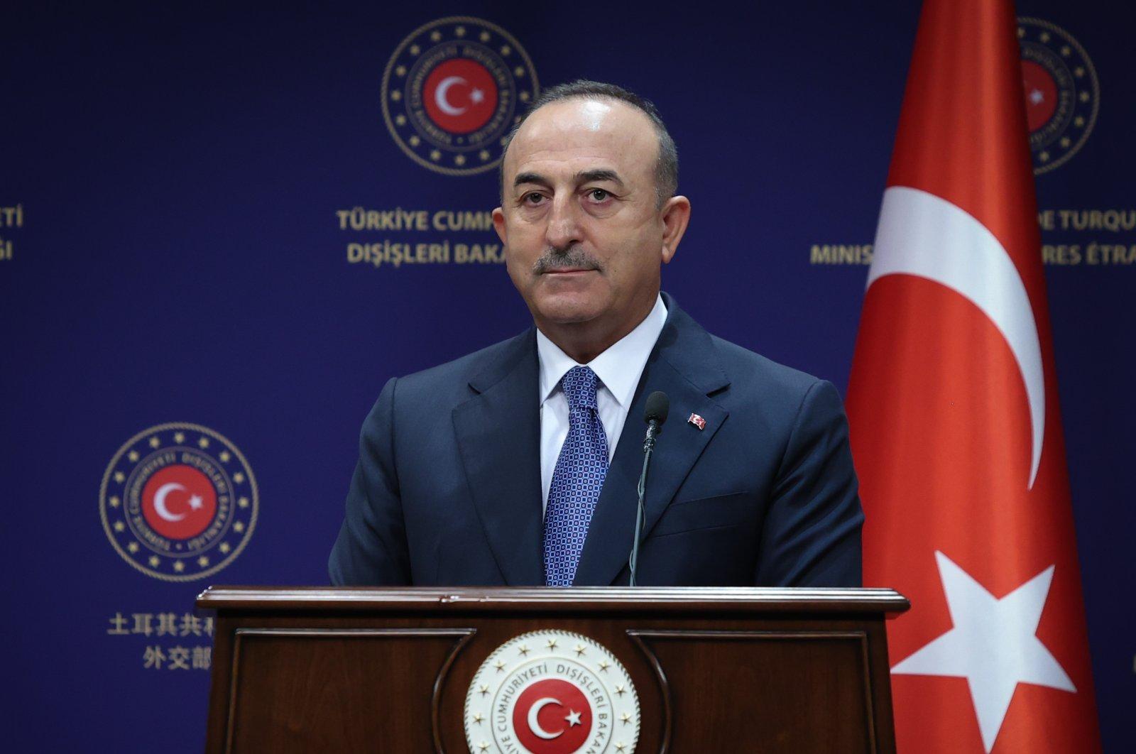 Foreign Minister Mevlüt Çavuşoğlu attends a joint press conference, in Ankara, Turkey, Sept. 2, 2021 (AA Photo)