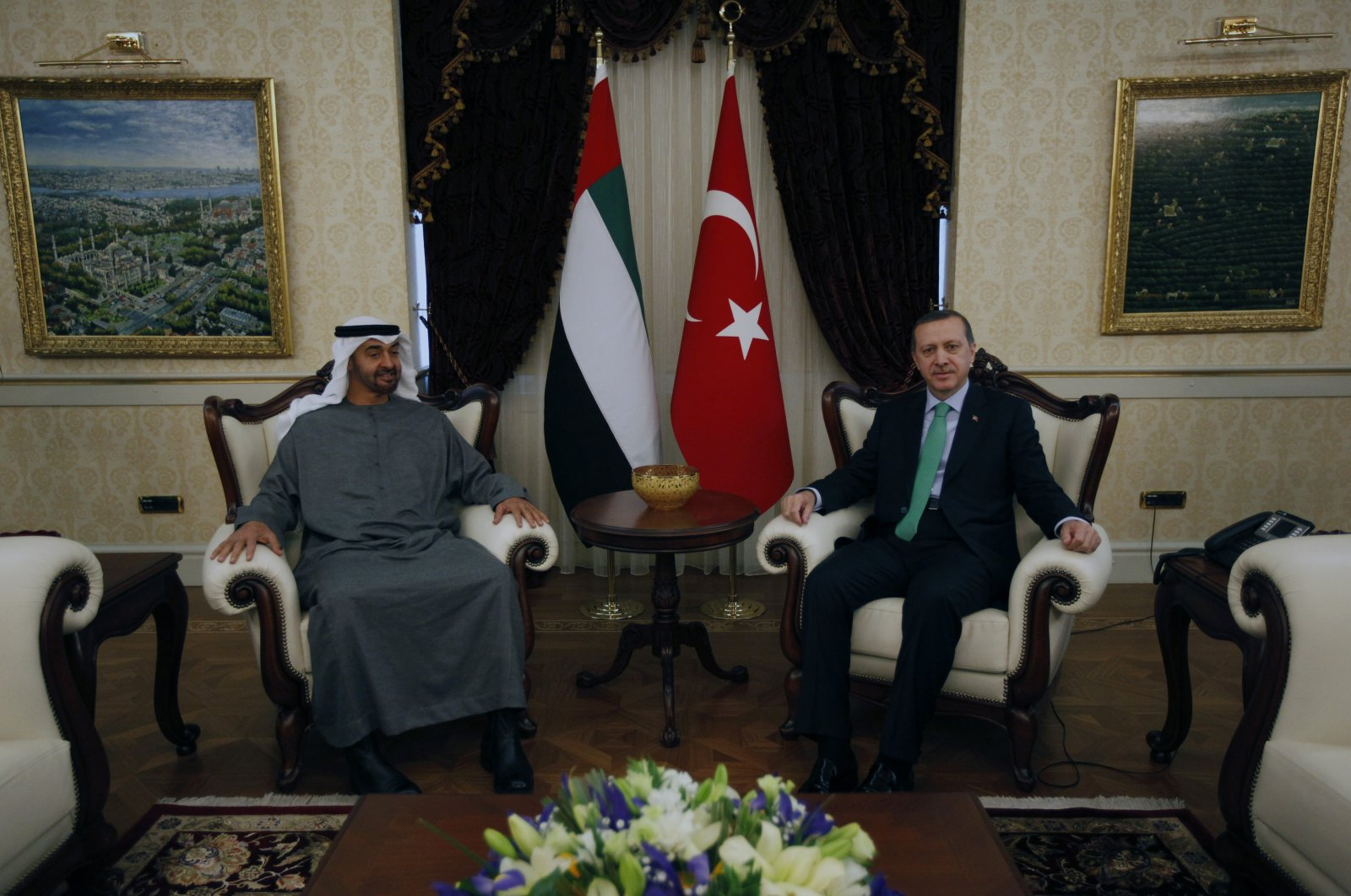 Abu Dhabi Crown Prince Mohammed bin Zayed Al Nahyan (L) and then-Prime Minister Recep Tayyip Erdoğan pose for cameras before their meeting in Ankara, Turkey, Feb. 28, 2012. (AP Photo)
