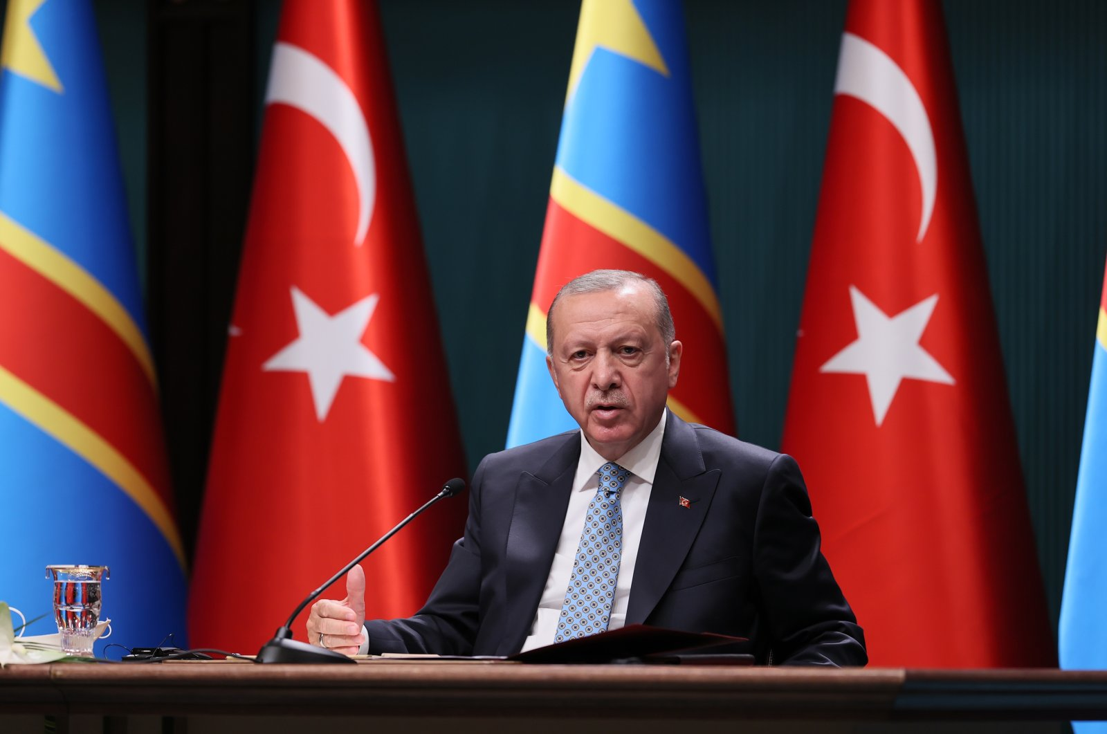 President Erdoğan speaks during thejoint press conference with Felix Tshisekedi, his Democratic Republic of Congo counterpart in the Presidential Complex, Ankara, Turkey, Sept. 7, 2021 (AA Photo)