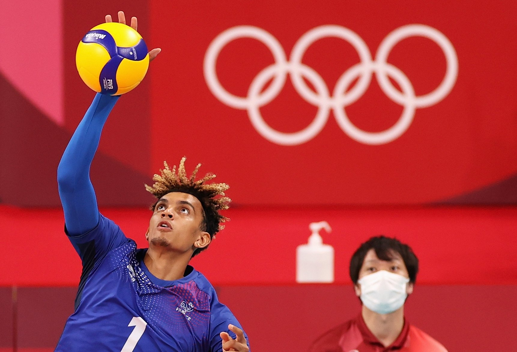 Barthelemy Chinenyeze #1 of Team France serves against Team Argentina during the Men's Volleyball Semifinals on day thirteen of the Tokyo 2020 Olympic Games at Ariake Arena, Aug. 5, 2021 in Tokyo, Japan. (Getty Images Photo)