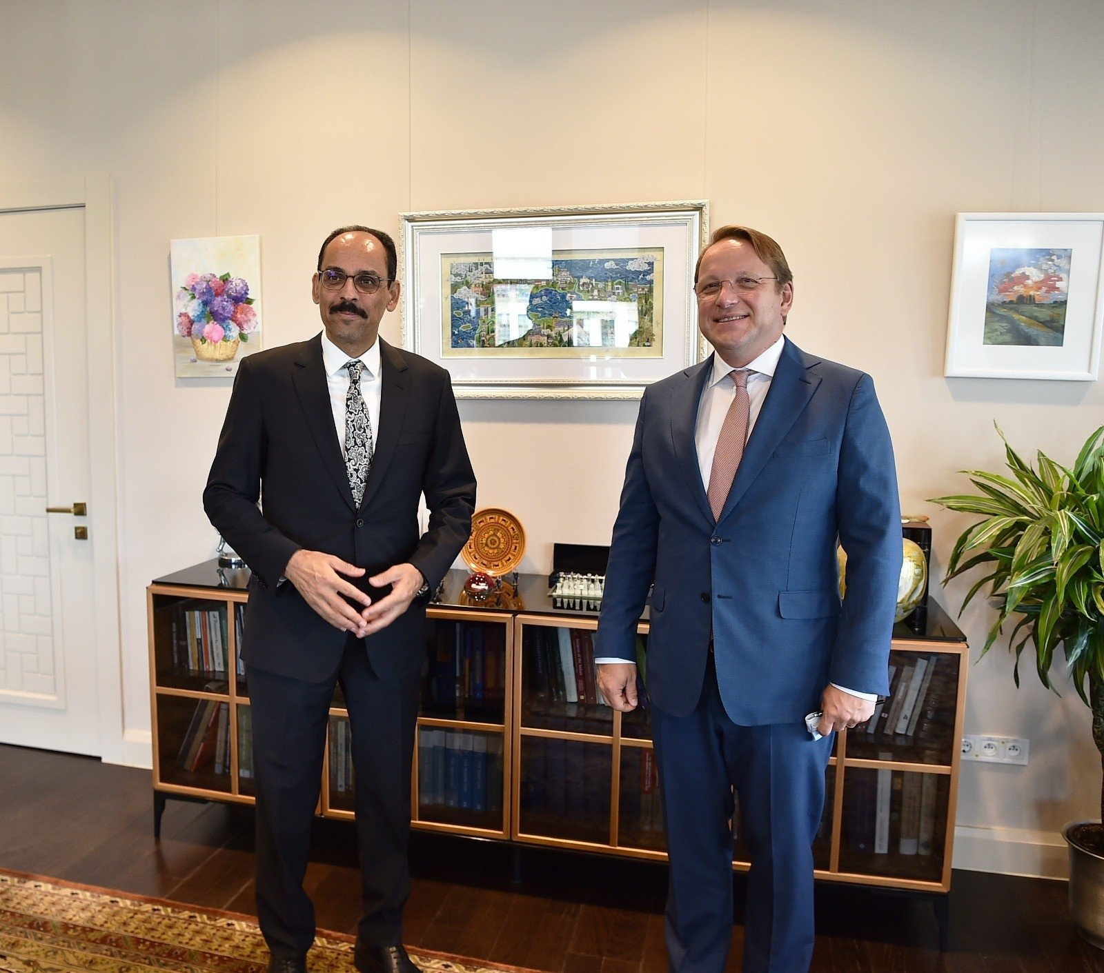 Turkish Presidential SpokespersonIbrahim Kalın (L) and the European Union's Neighborhood and Enlargement Commissioner Oliver Varhelyi meet in the capital Ankara, Turkey, Sept. 7, 2021. (AA Photo)