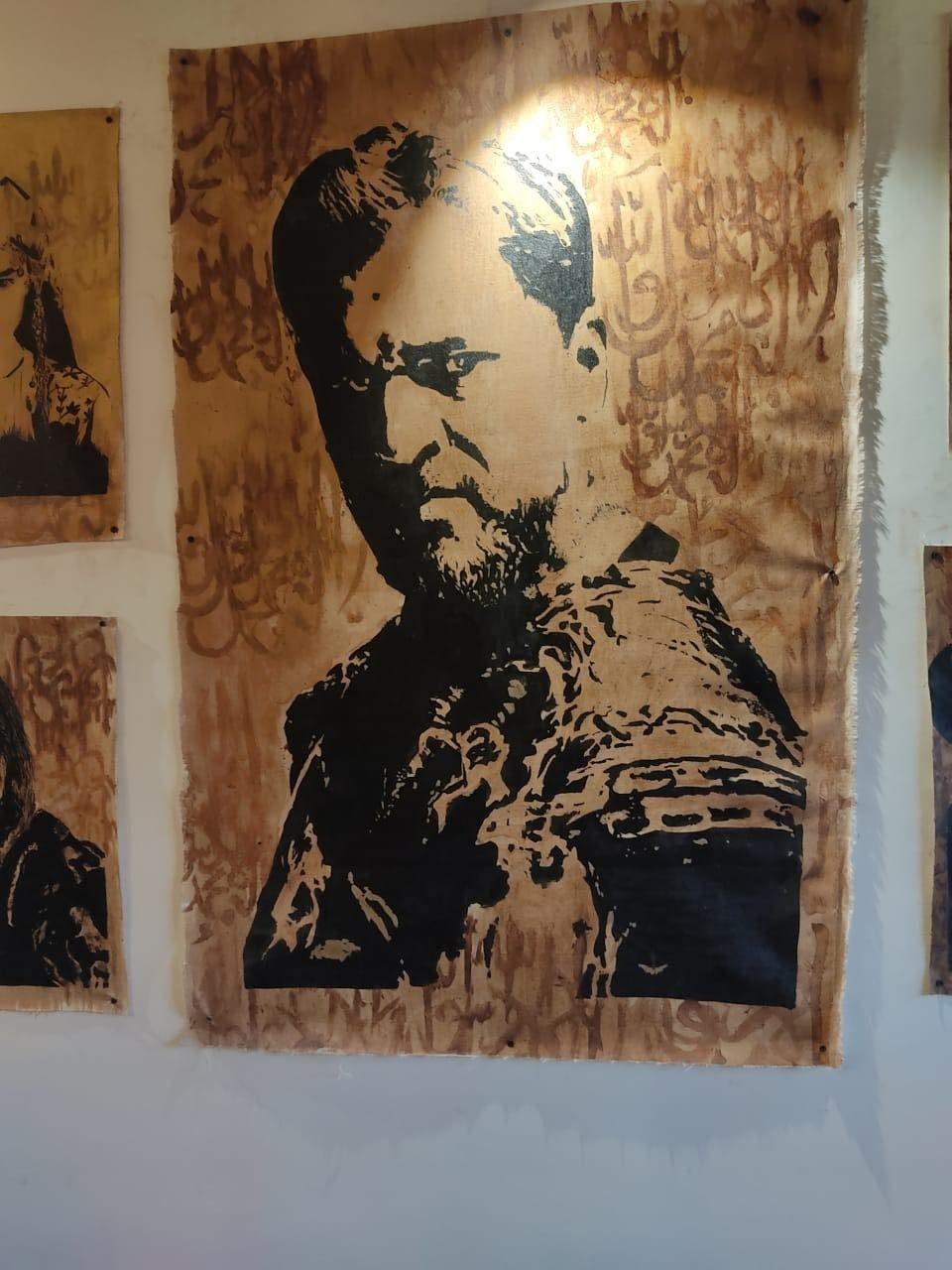 A close up of the portrait of Ertuğrul Ghazi, played by actor Engin Altan Düzyatan, in Kardeşler - The Kashmir Café. (Photo Courtesy of Shadab Chashoo)